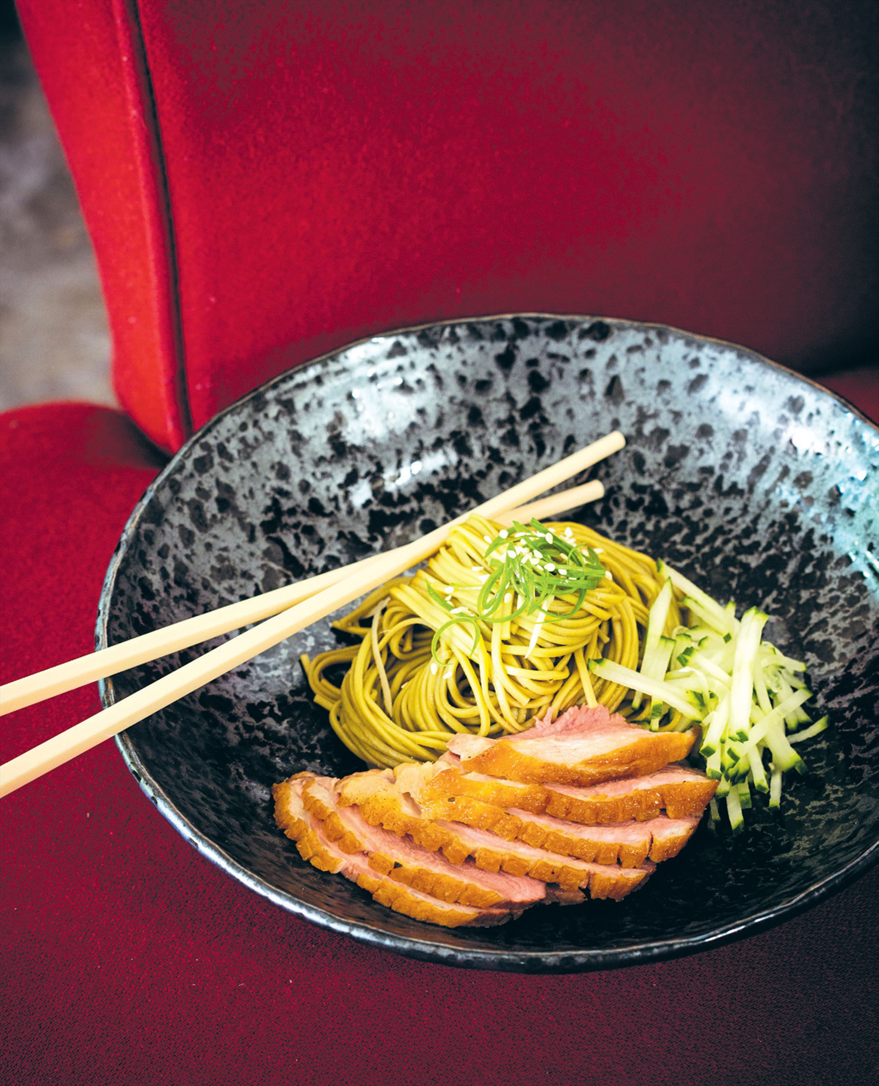 Tea-smoked duck with green tea soba