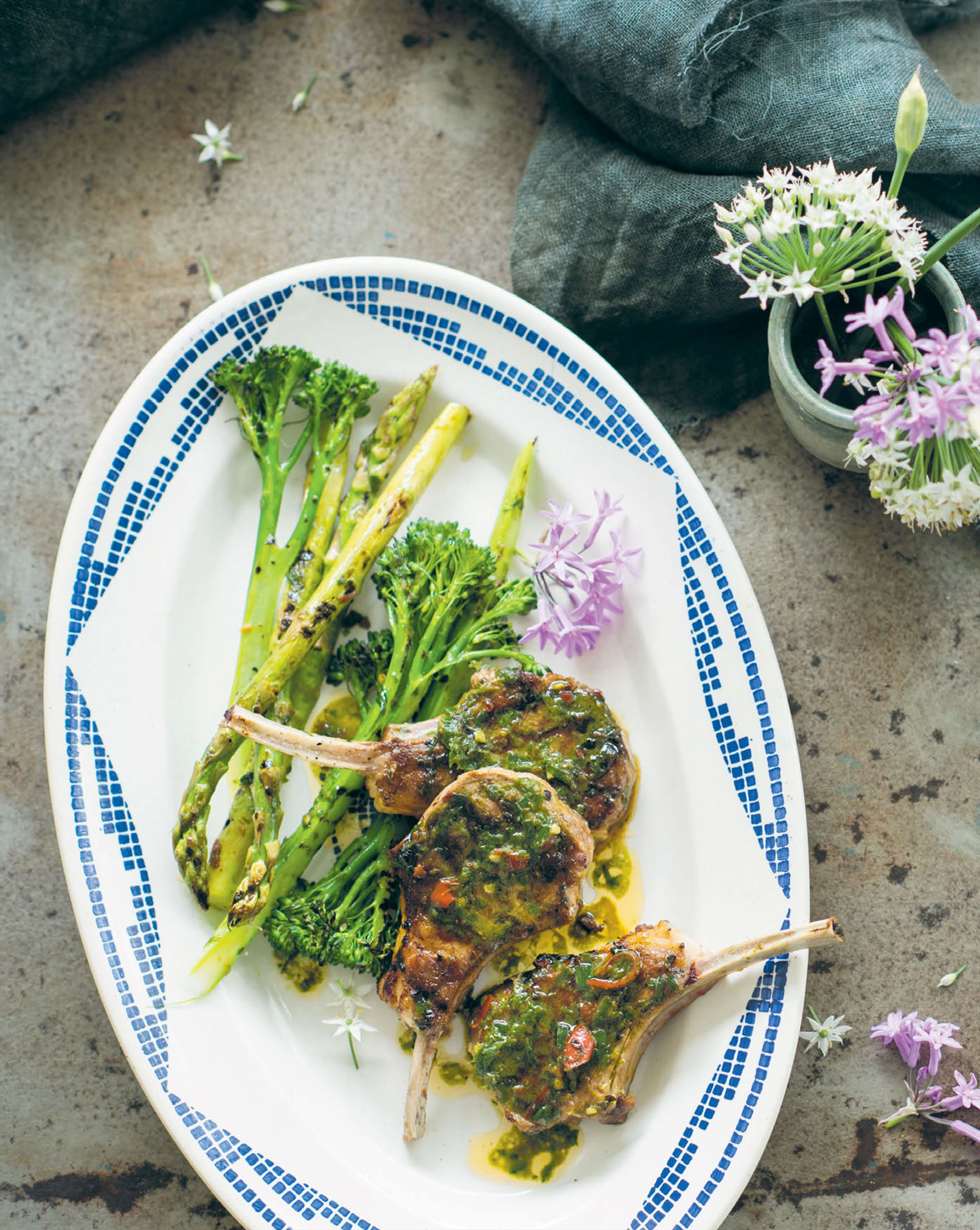 Chargrilled lamb cutlets with anchovy & mint paste