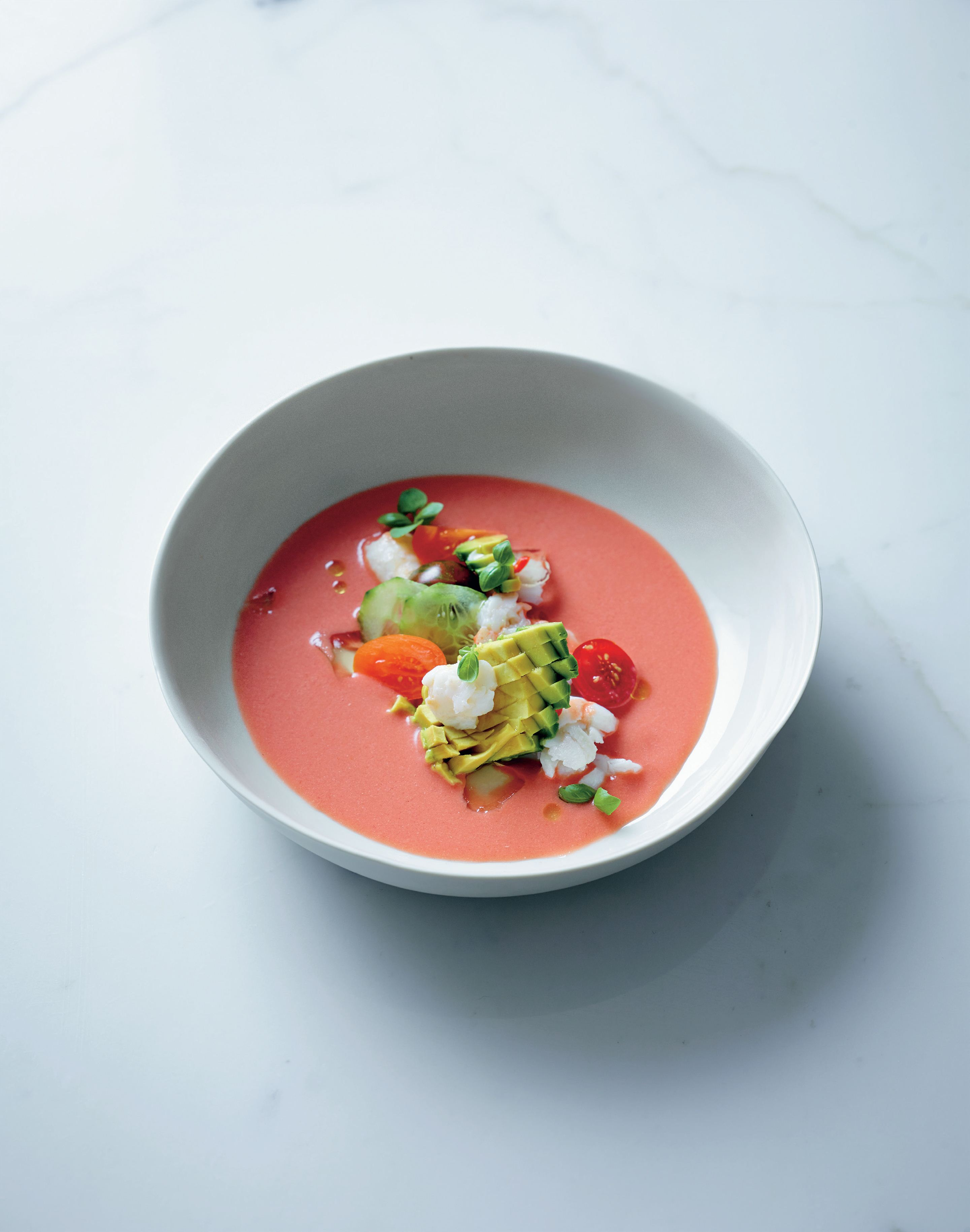 Heirloom tomato gazpacho, crab, avocado, fino sherry jelly