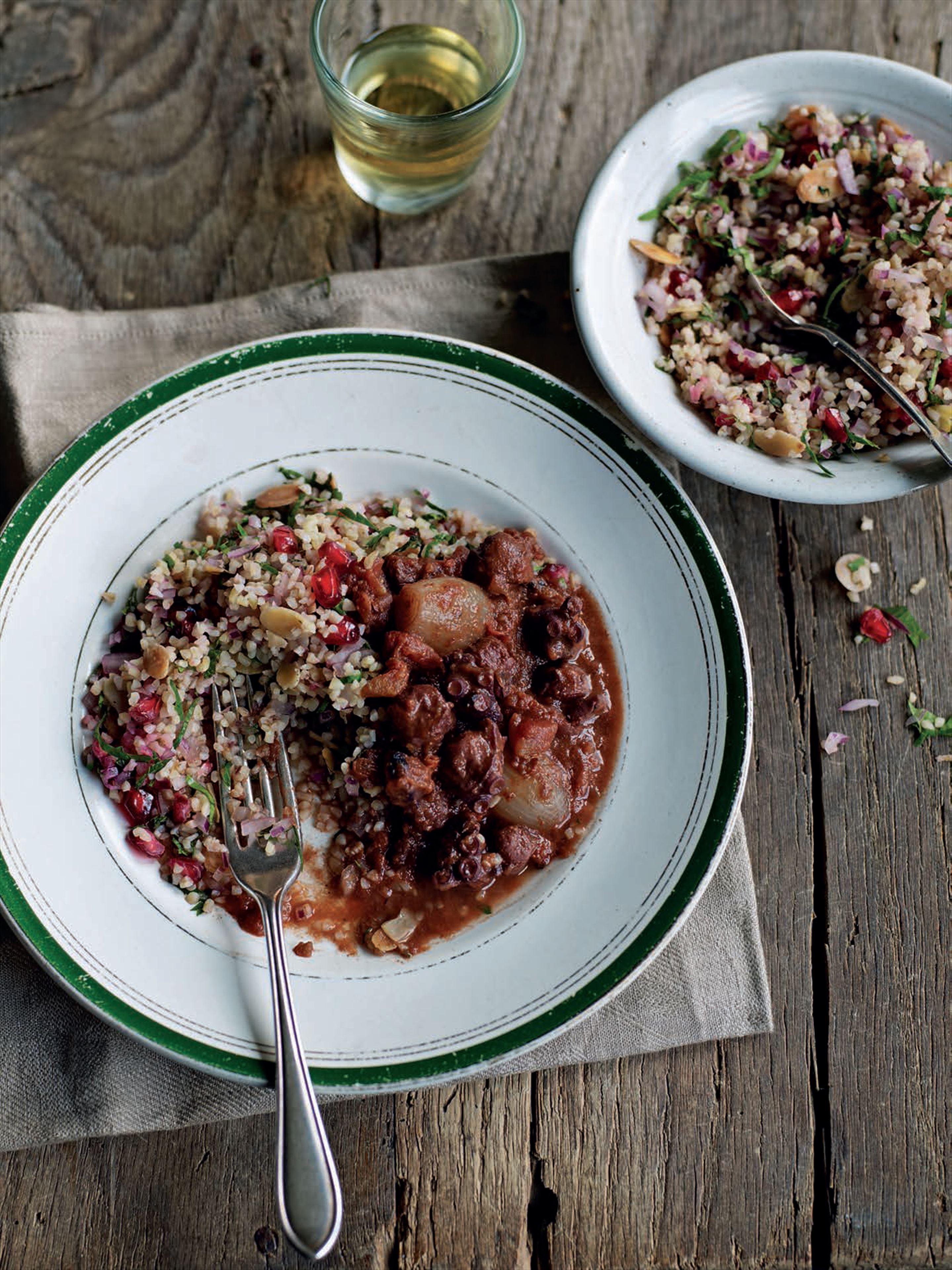 Braised octopus with herb tabbouleh