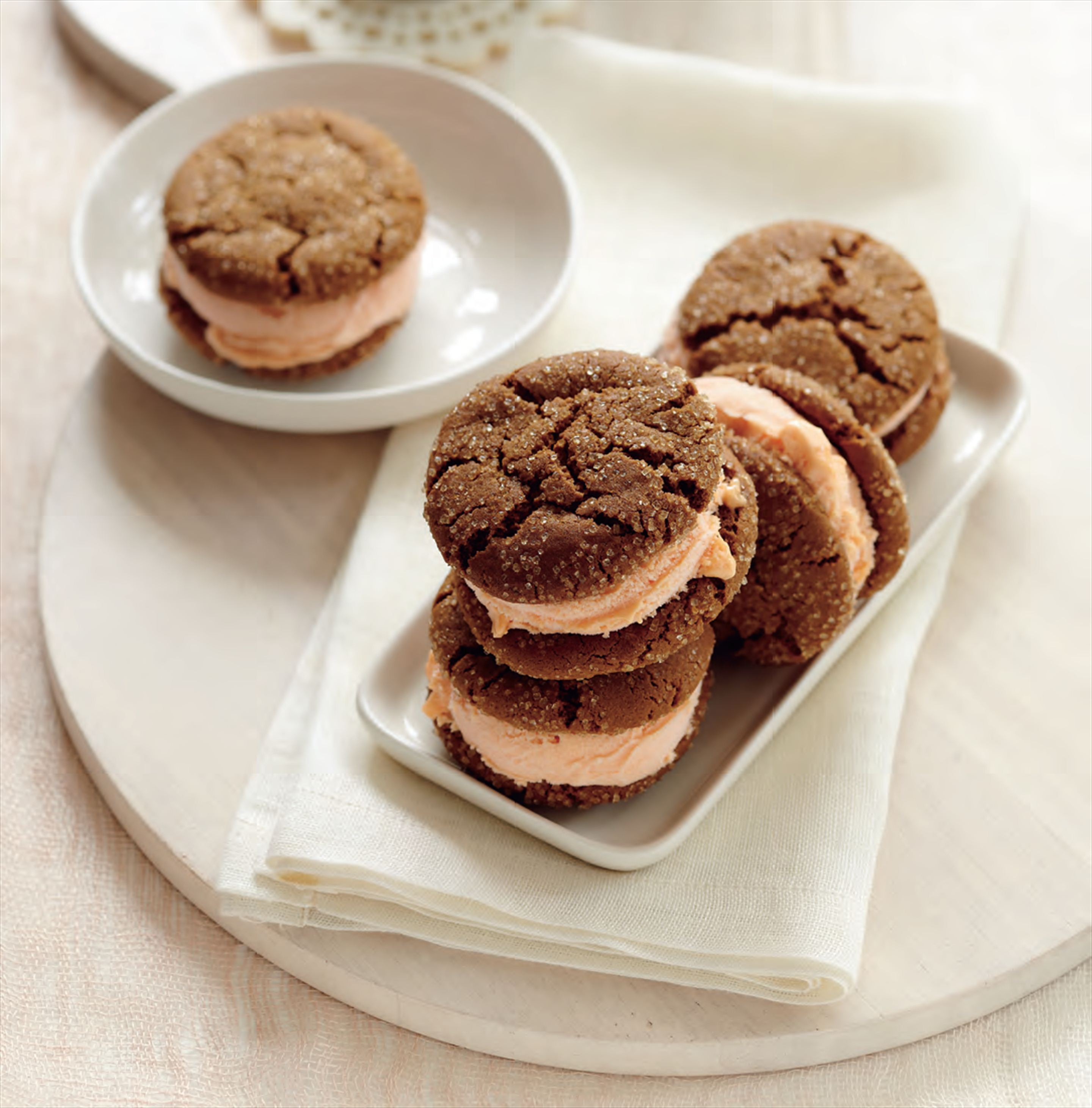 Gingersnap and peach ice-cream sandwiches
