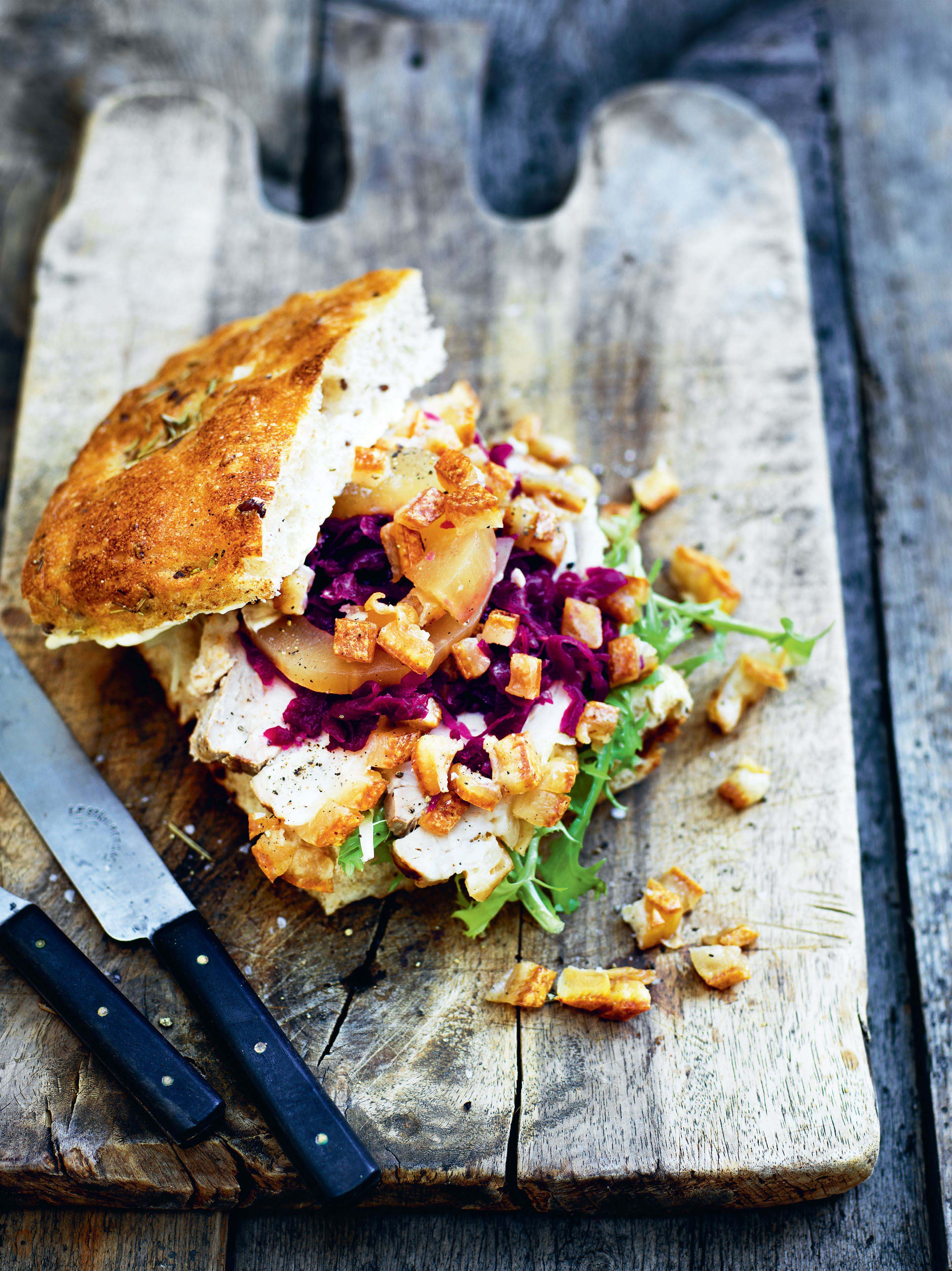 Pork sandwich with red cabbage and horseradish