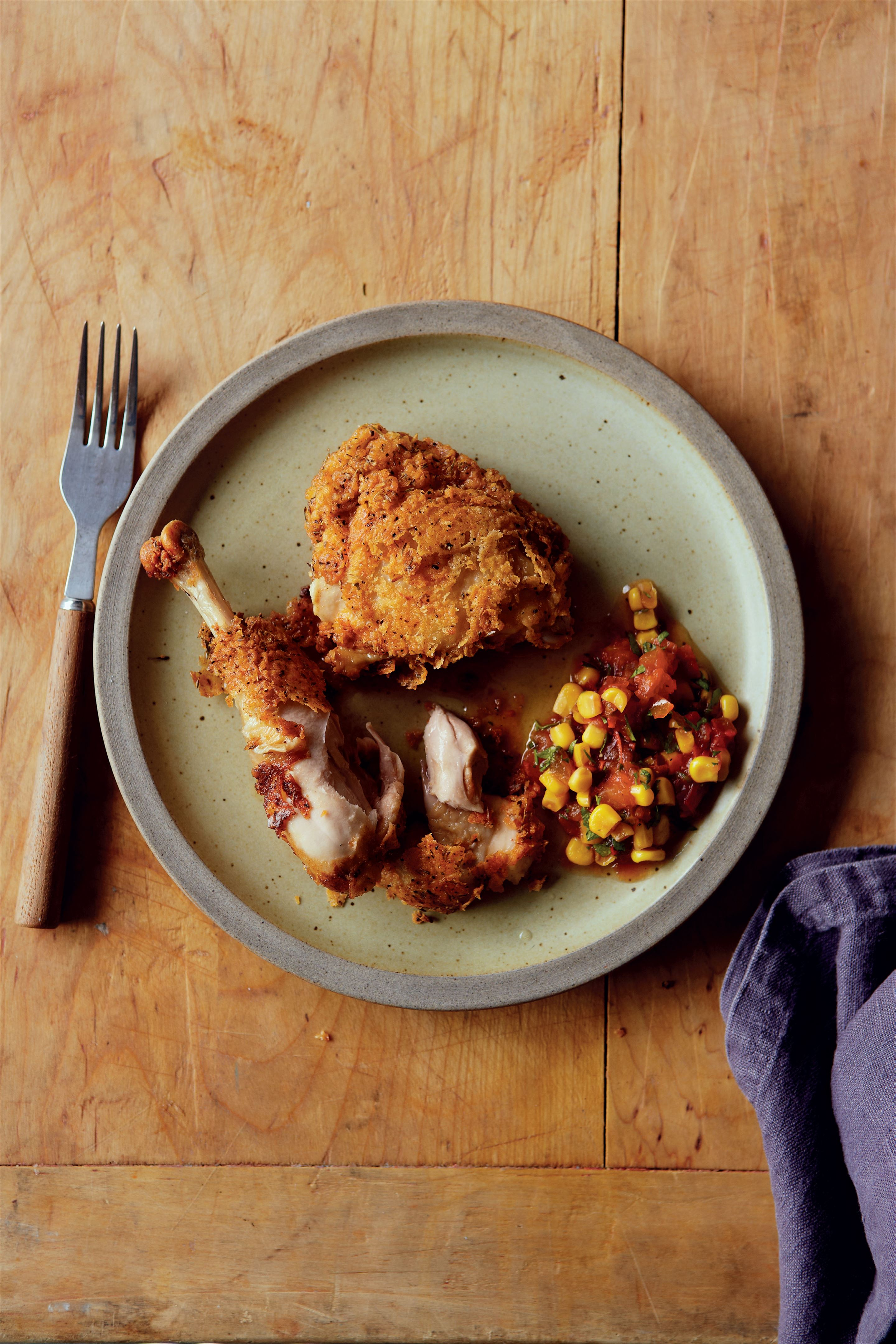 Southern-fried buttermilk chicken with tomato and sweetcorn salsa