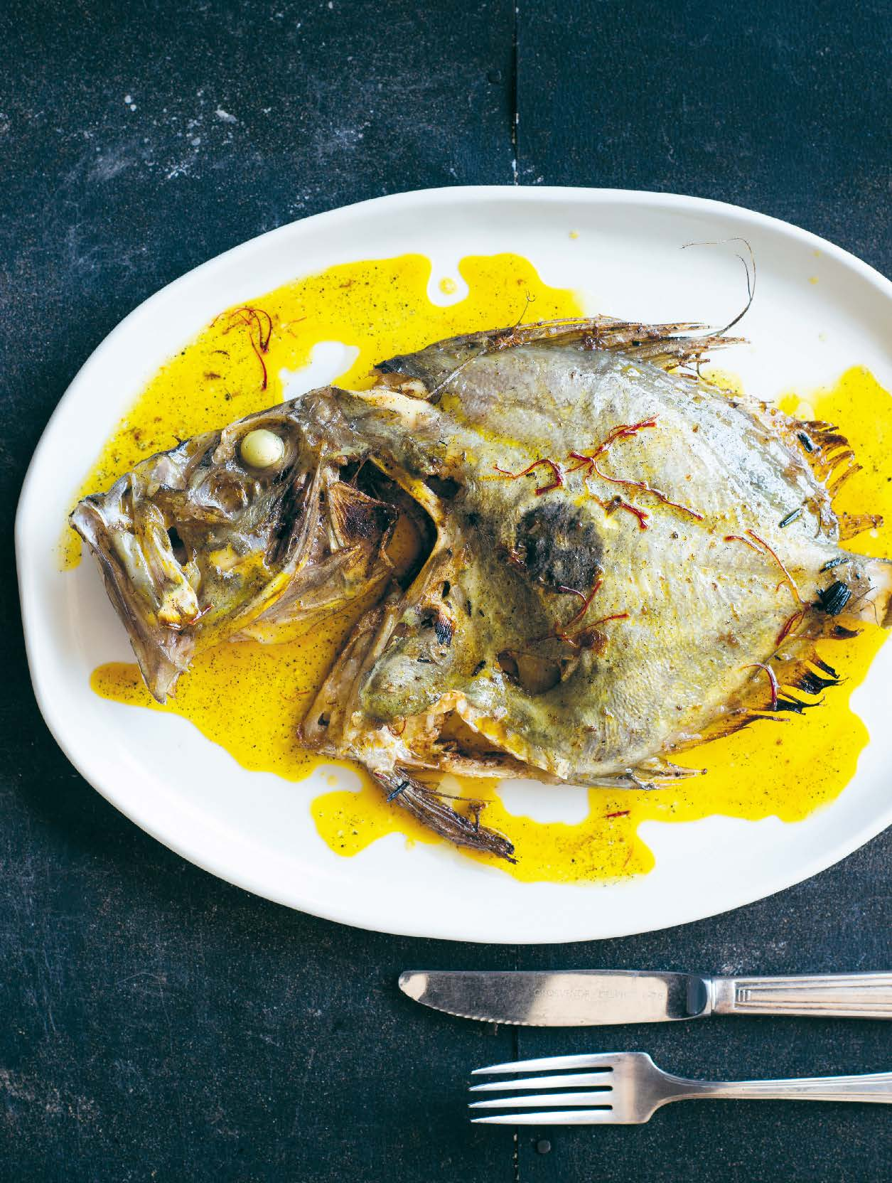 Roasted whole John Dory with vanilla and saffron
