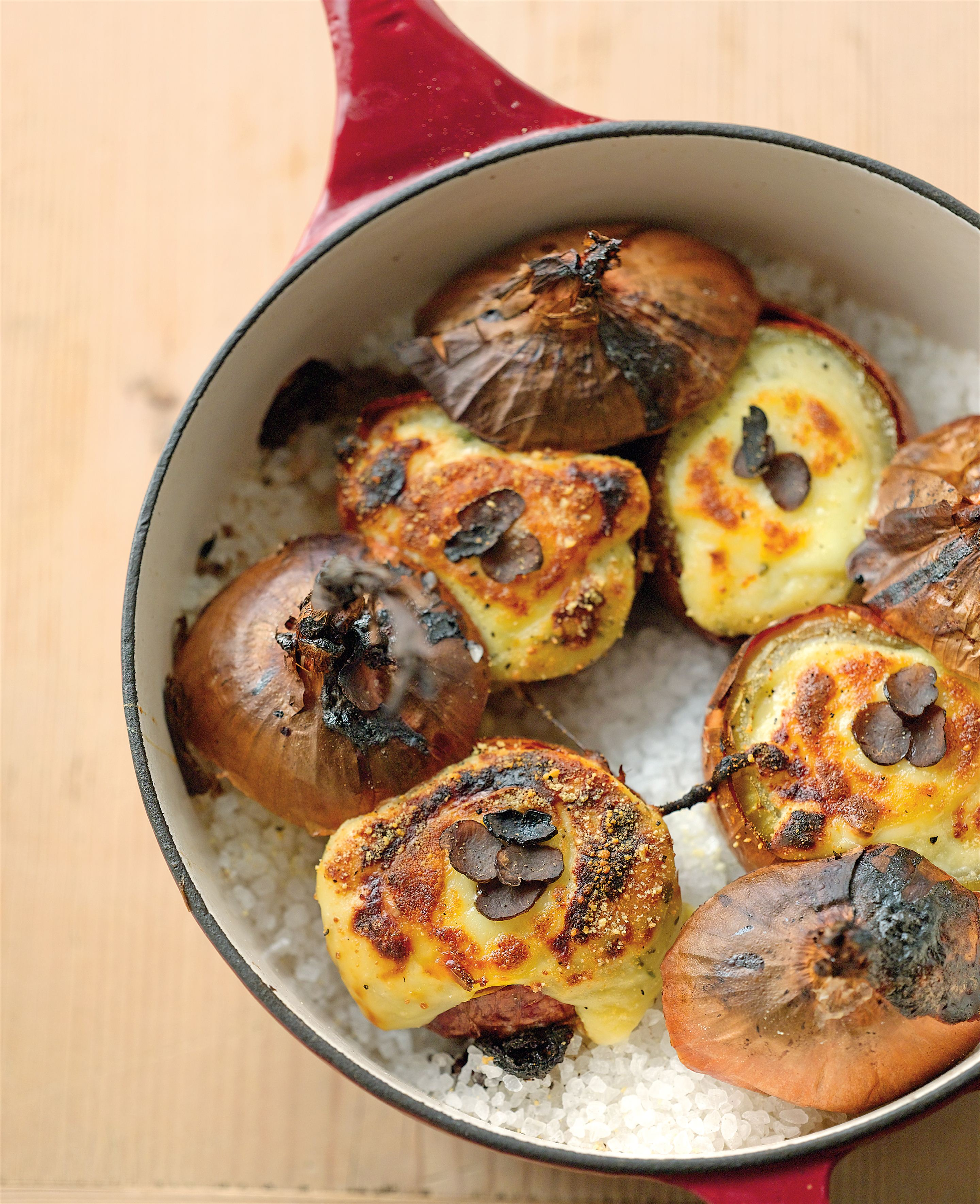 Salt-baked onions with truffled egg