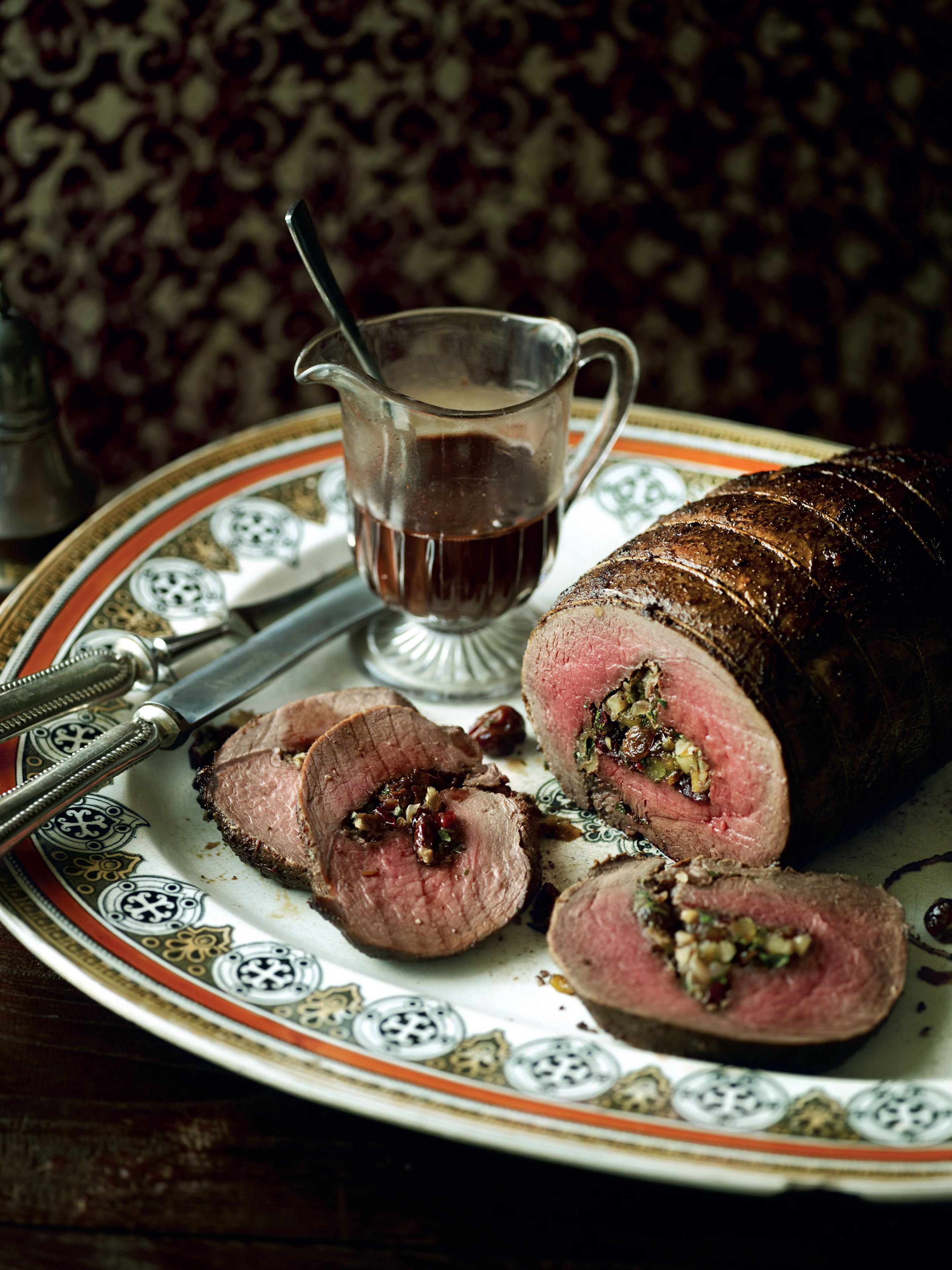 Stuffed haunch of venison