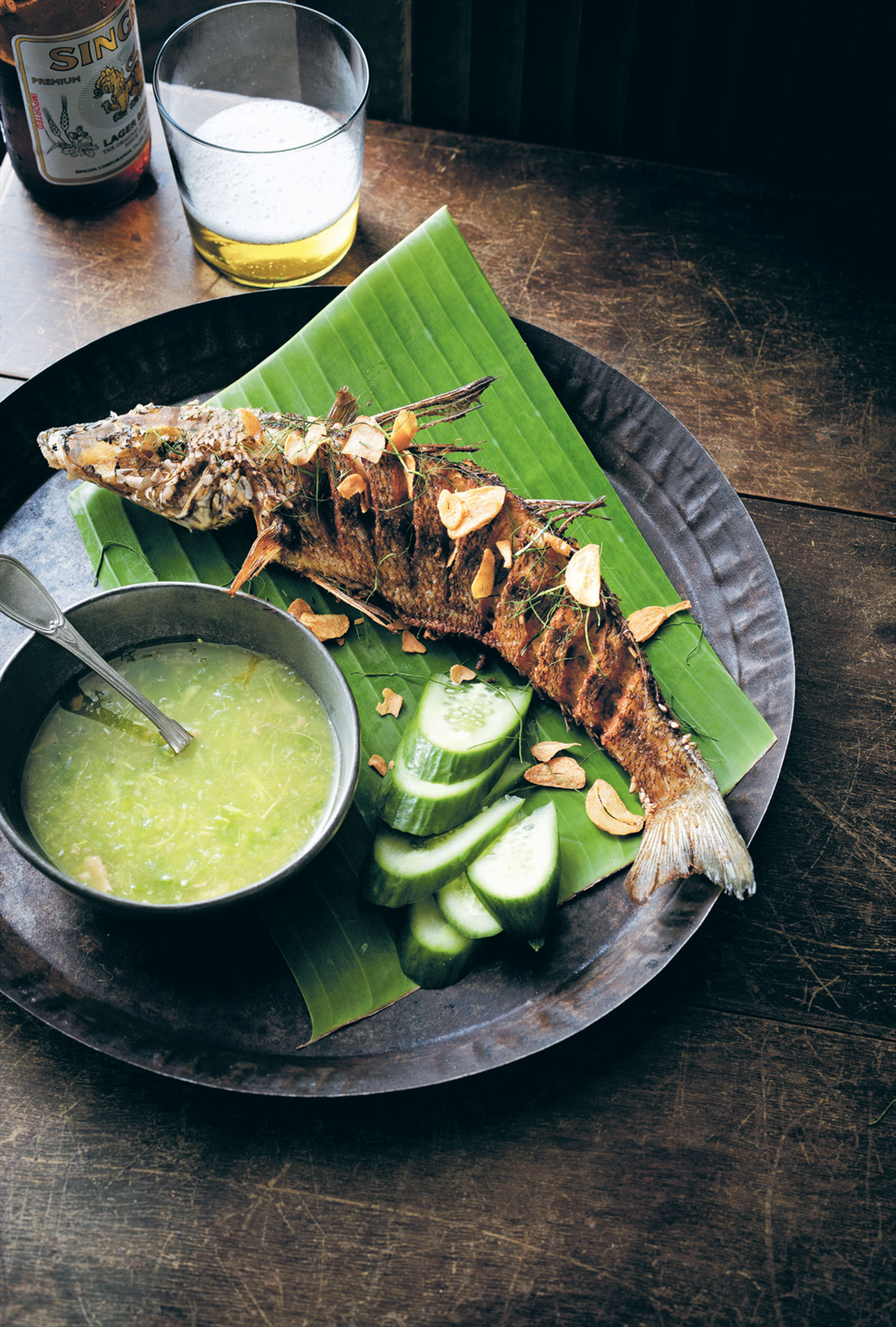 Crisp-fried whole whiting with green chilli nahm jim