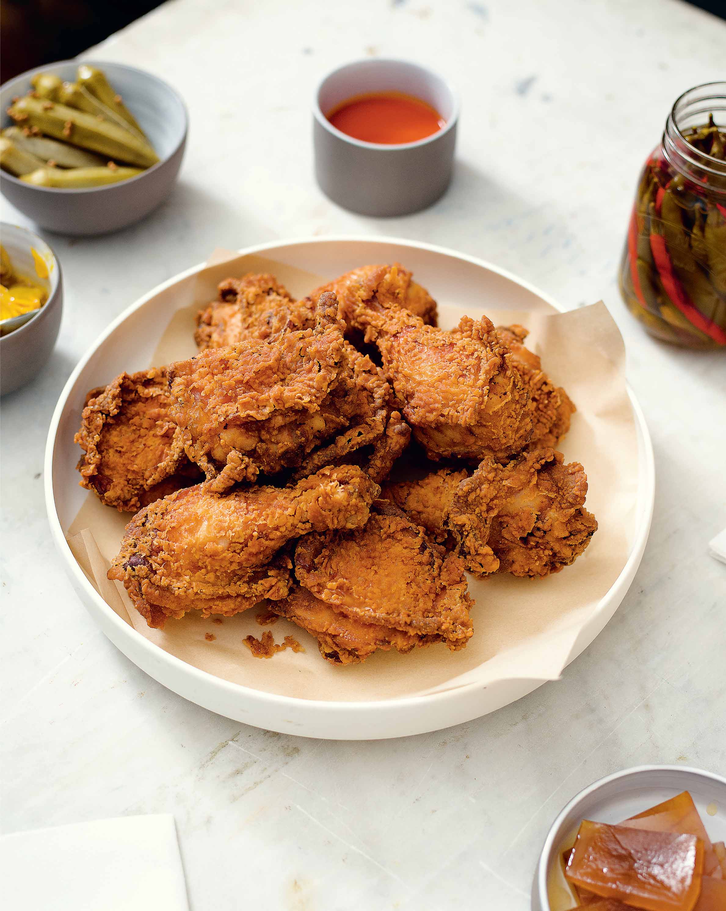 Southern fried chicken with green tomato gravy