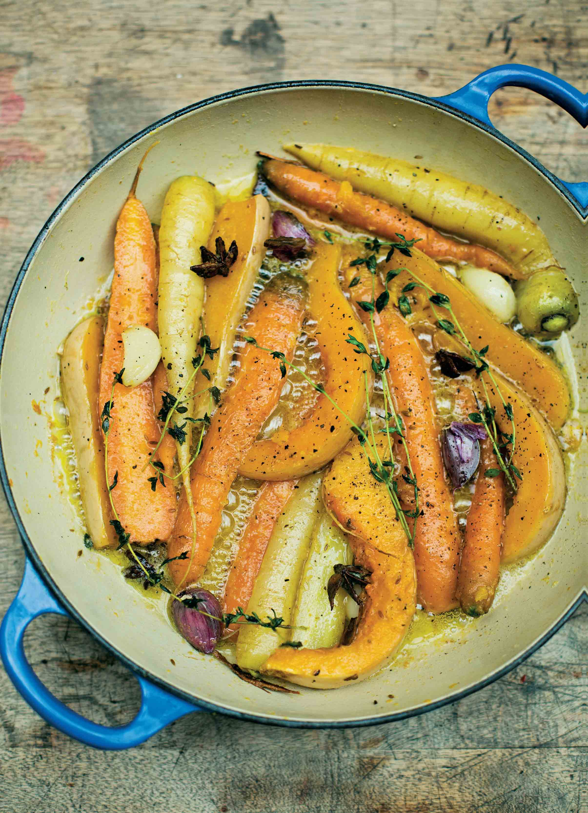 Caramelised carrots with butternut squash and star anise
