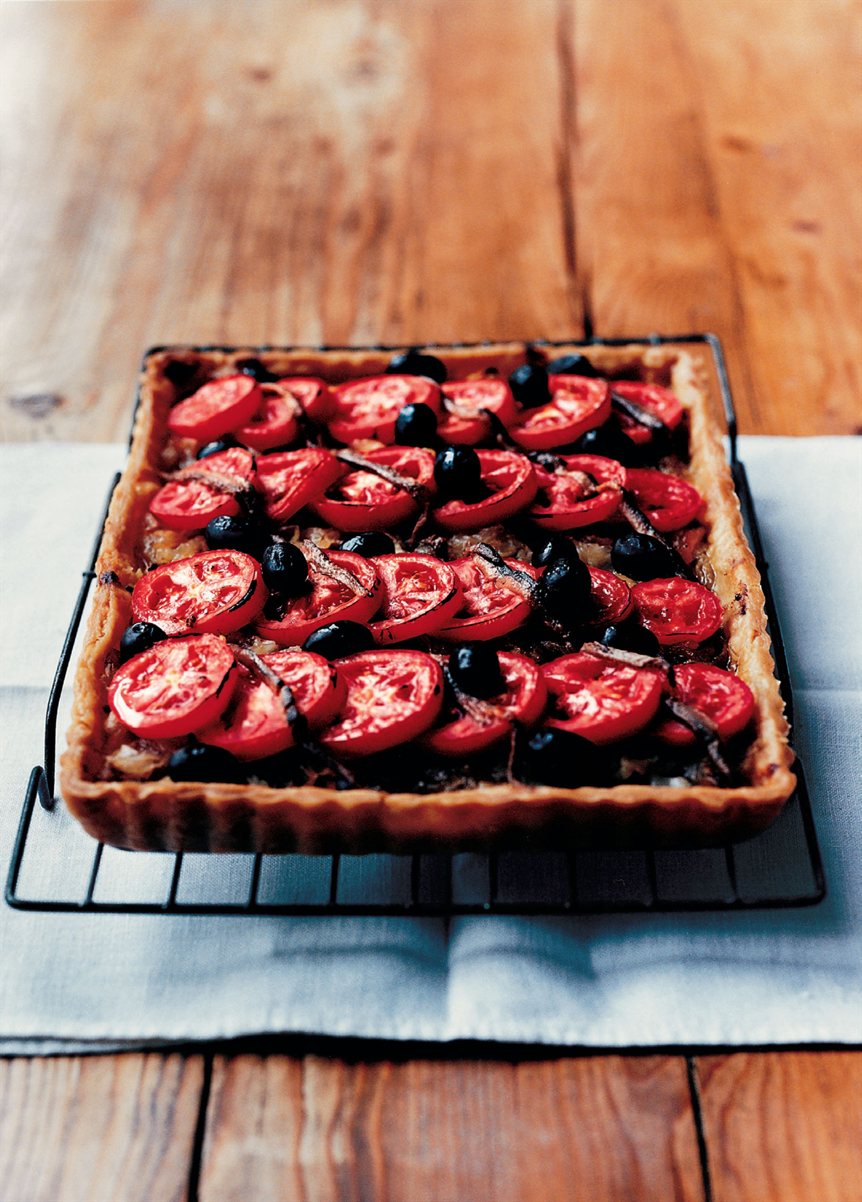 Onion and olive tart