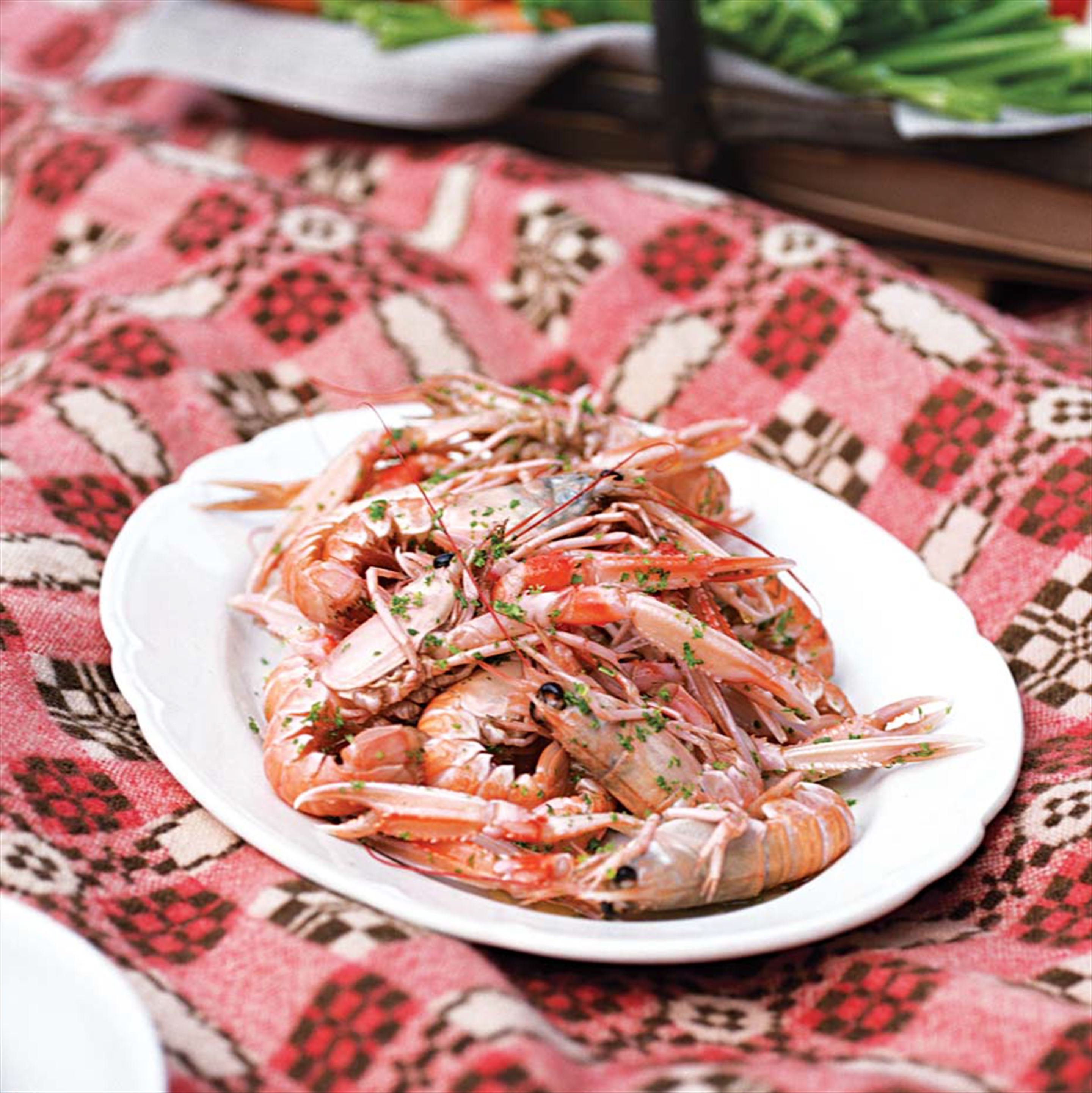 Poached langoustines with green goddess dressing
