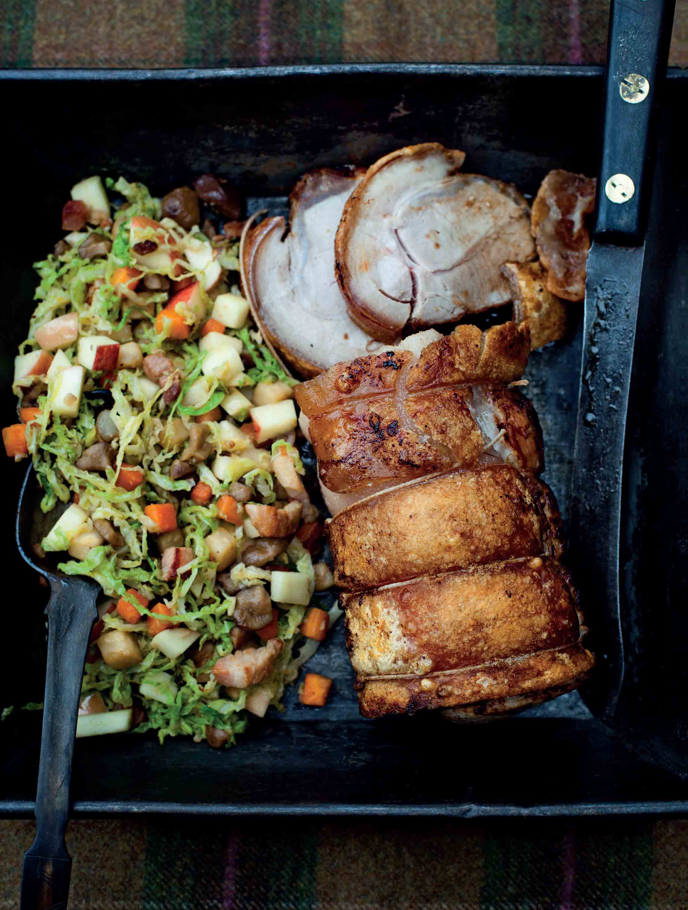 Roasted loin of pork with savoy cabbage, apple and chestnuts