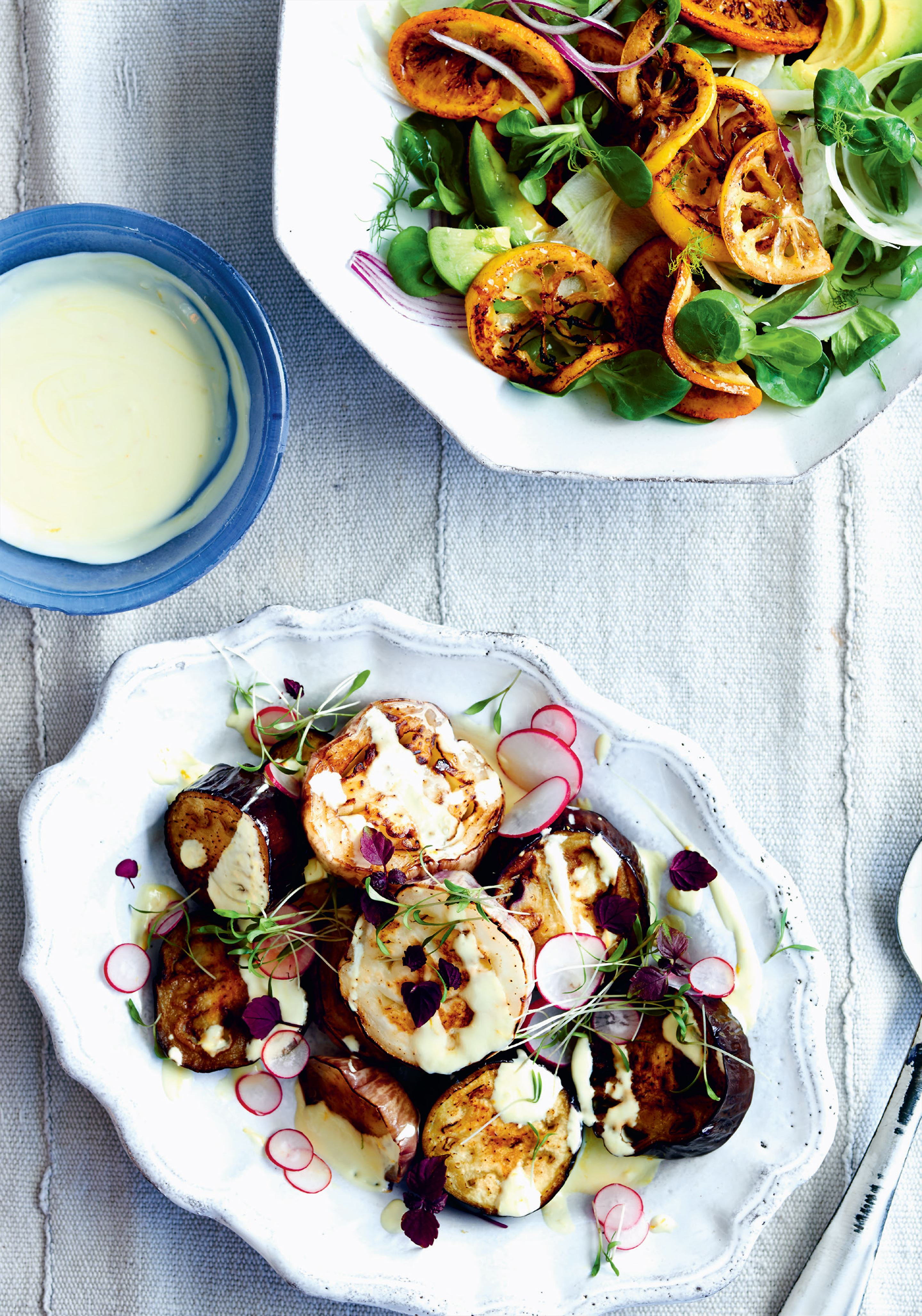 Roasted aubergine salad with lemon saffron yoghurt