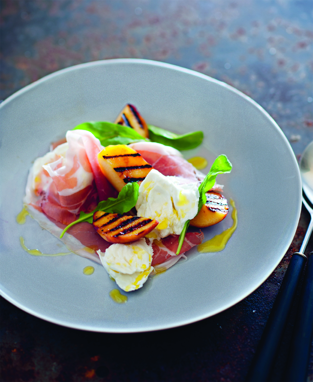 Grilled peach, warm buffalo mozzarella and prosciutto