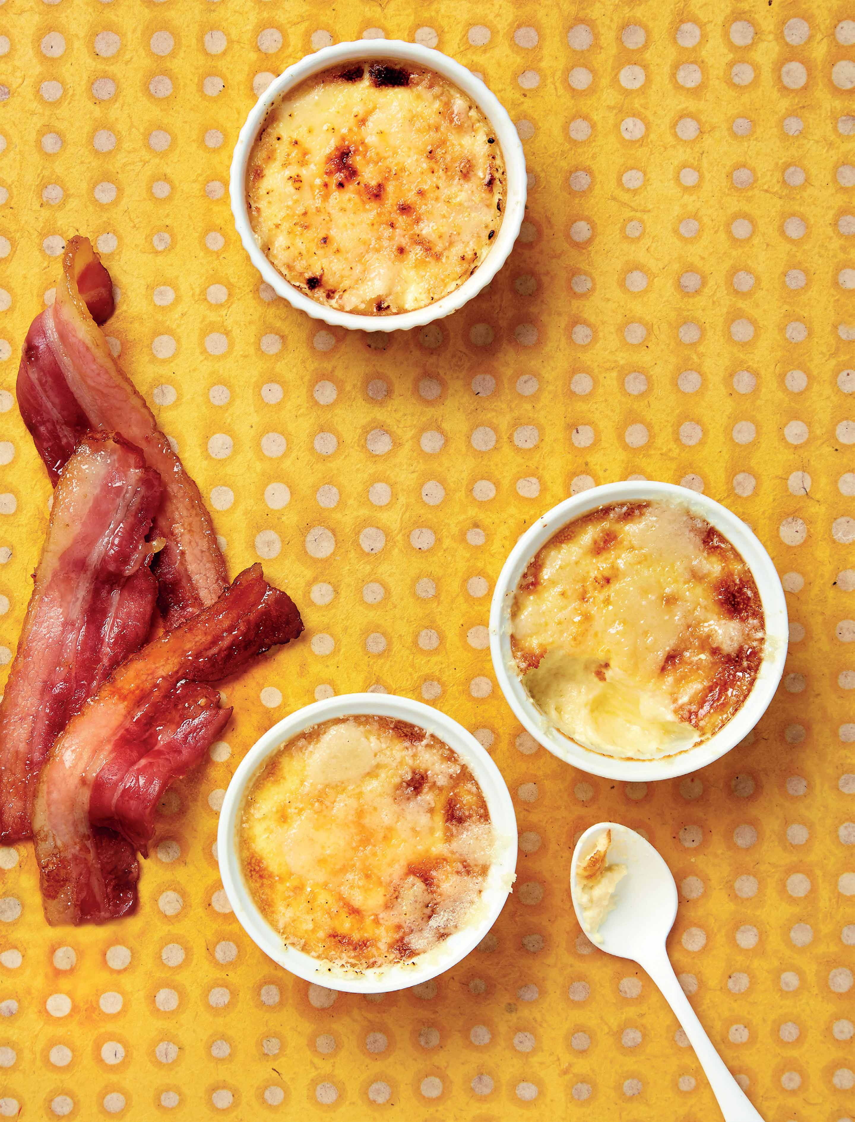 Parmesan custards & crispy bacon