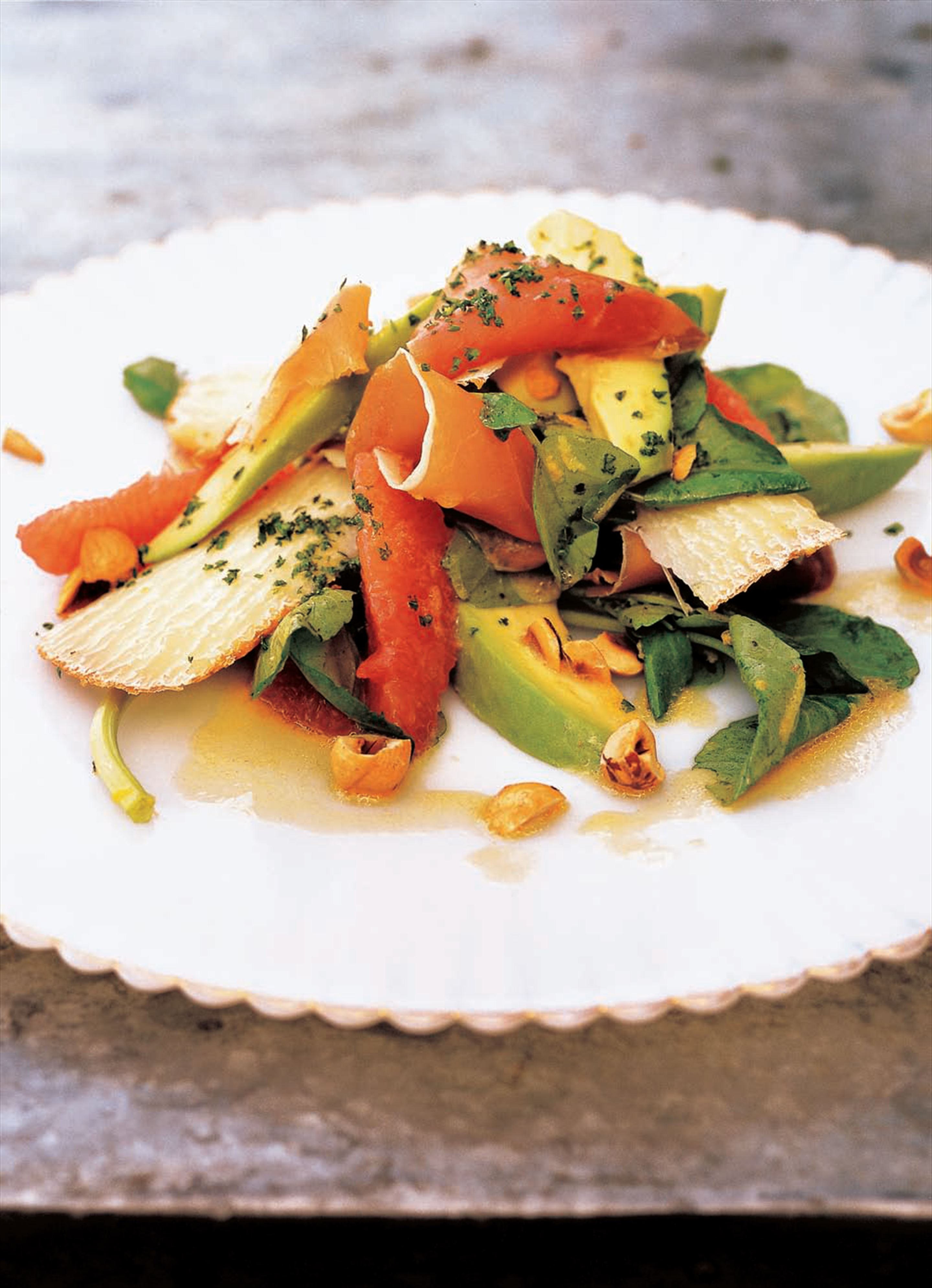 Pink grapefruit, avocado and watercress salad