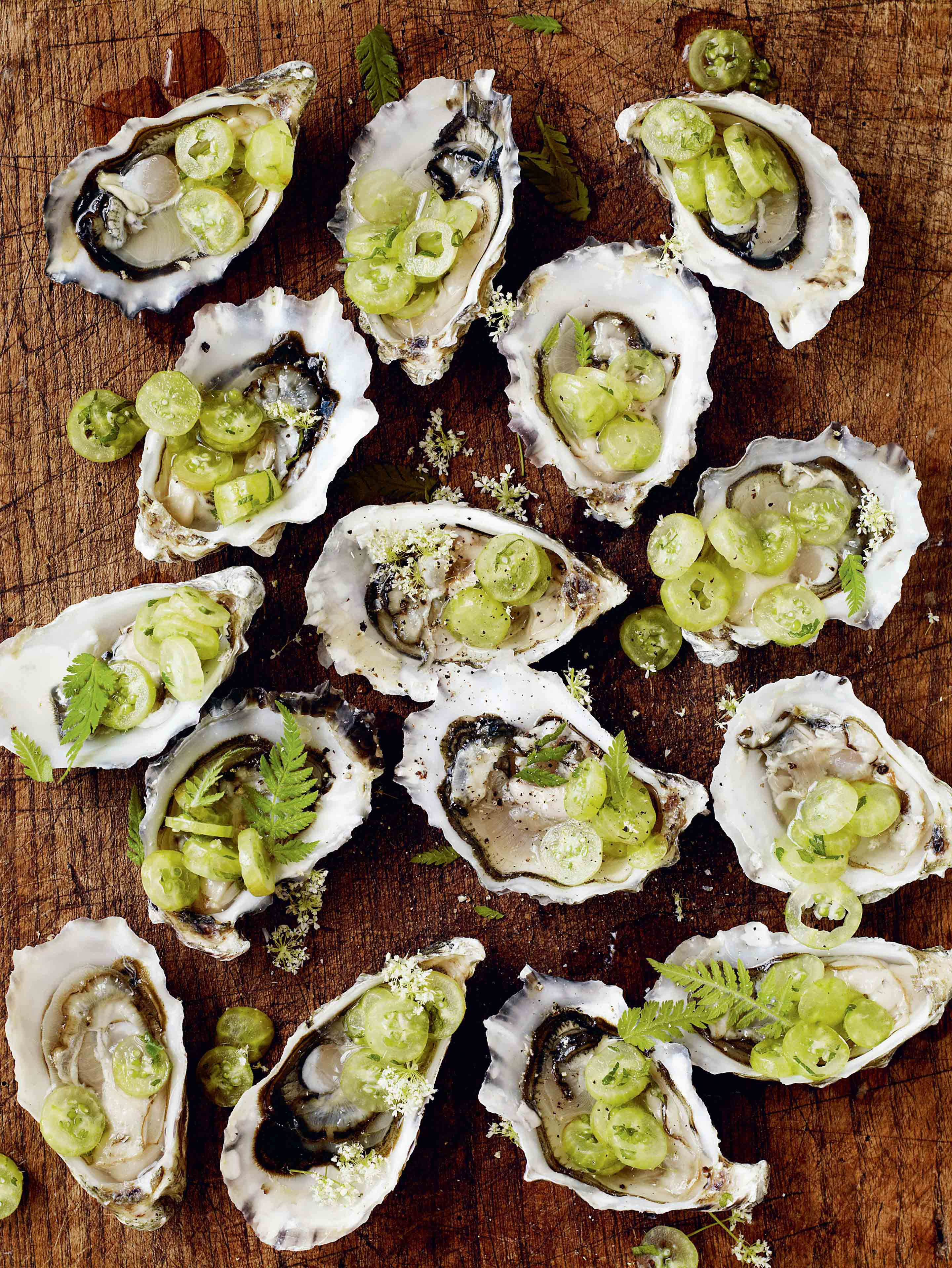 Oysters with sweet cicely & gooseberries