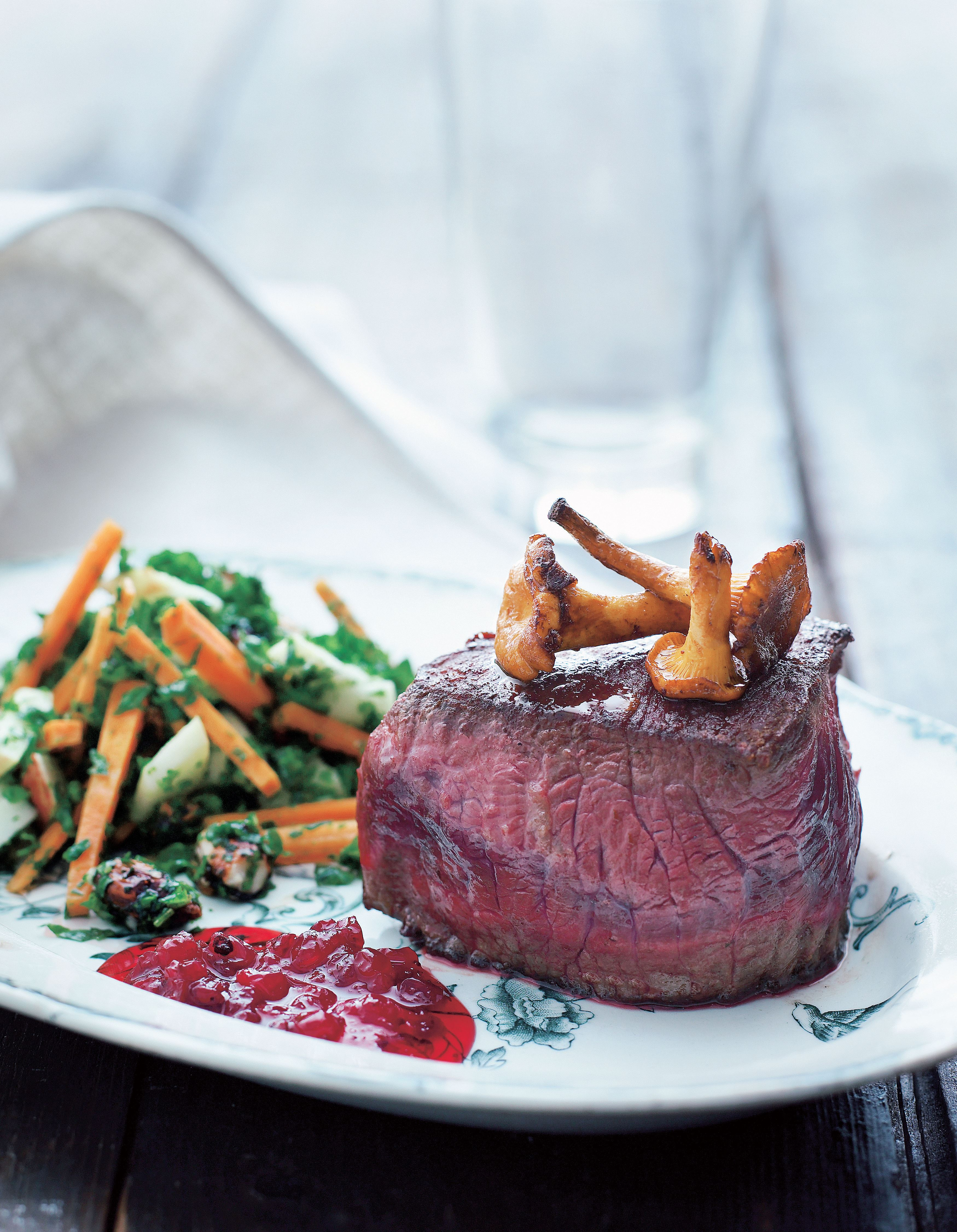 Moose tournedos with kale salad and cowberry compote