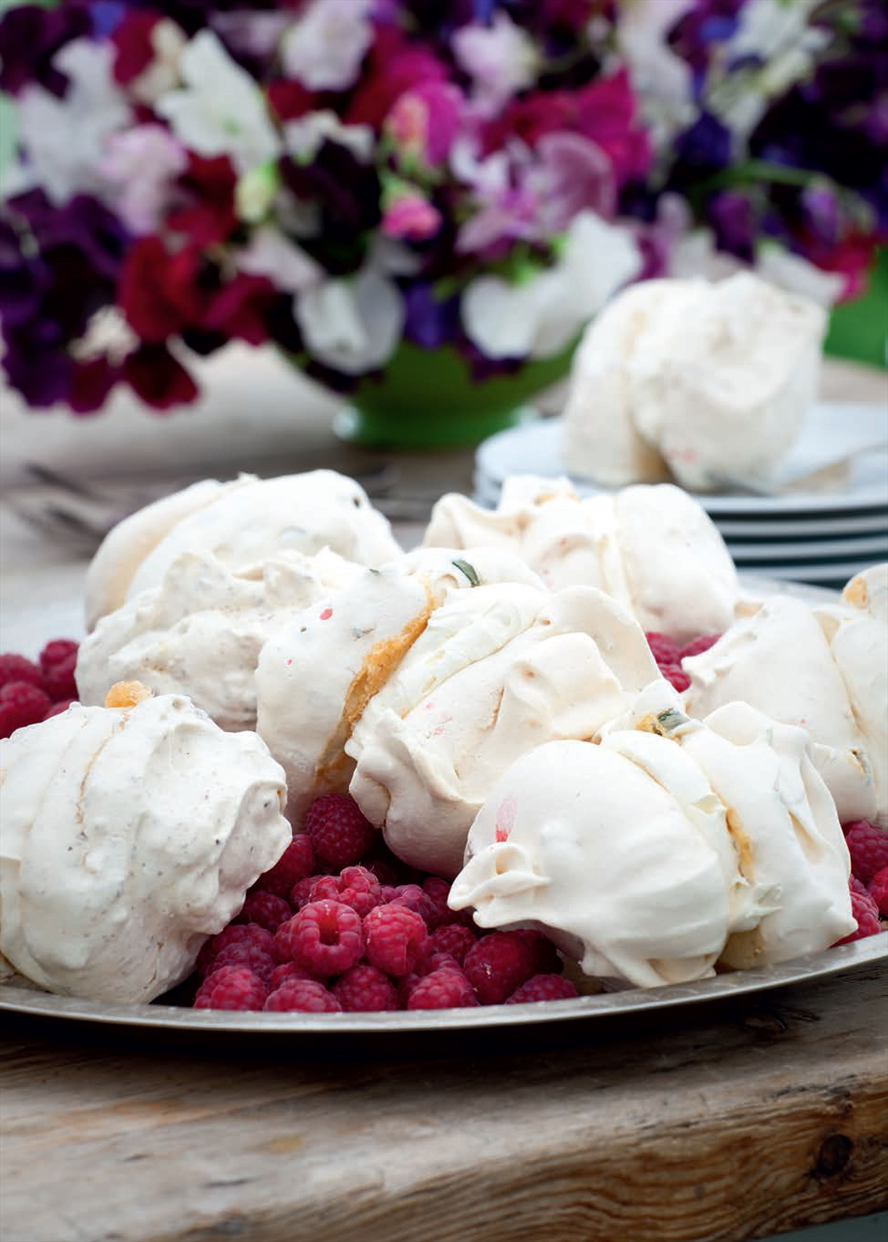 Basil, raspberry and hazelnut meringues
