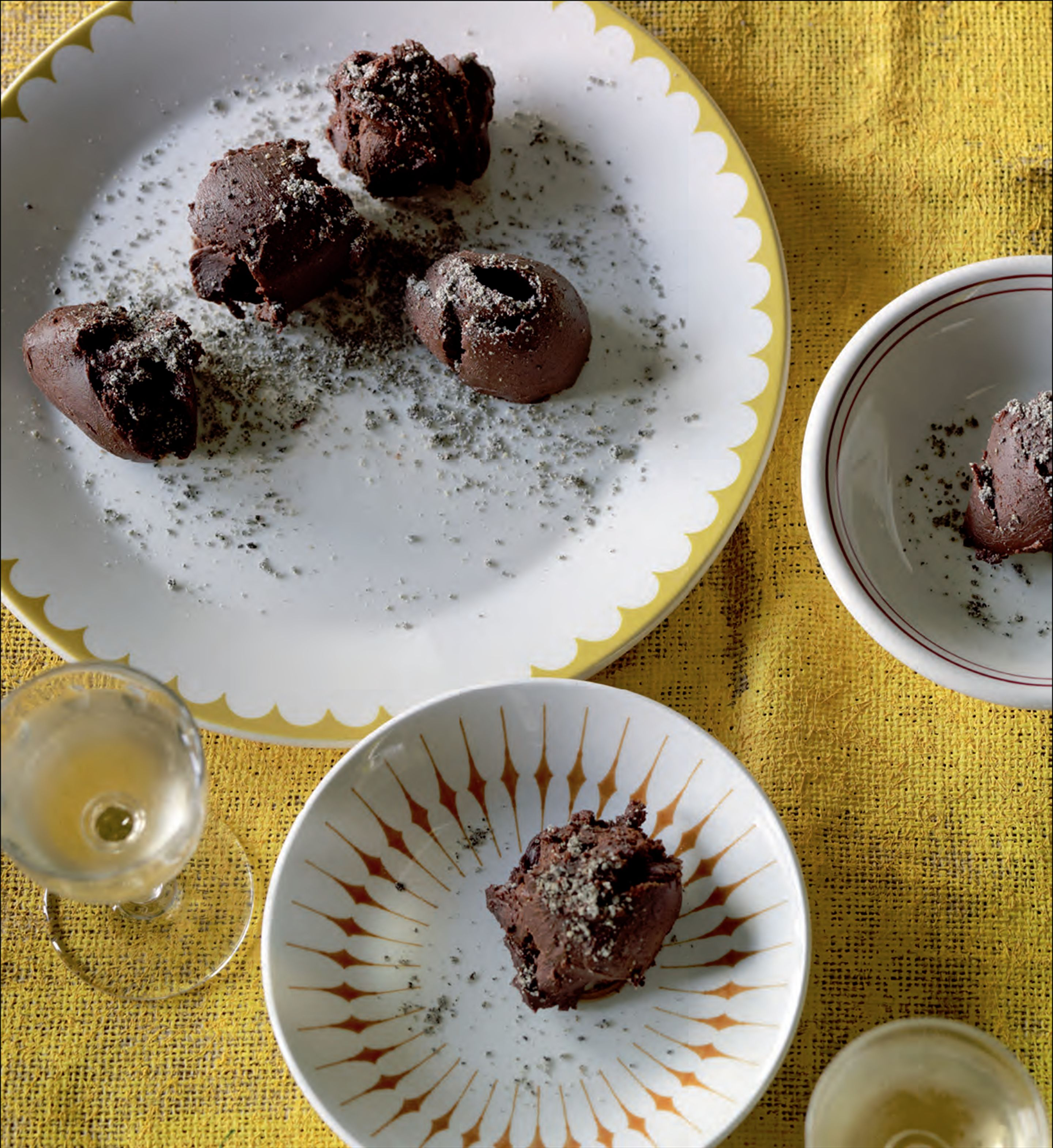 Chocolate truffles with soy bean powder