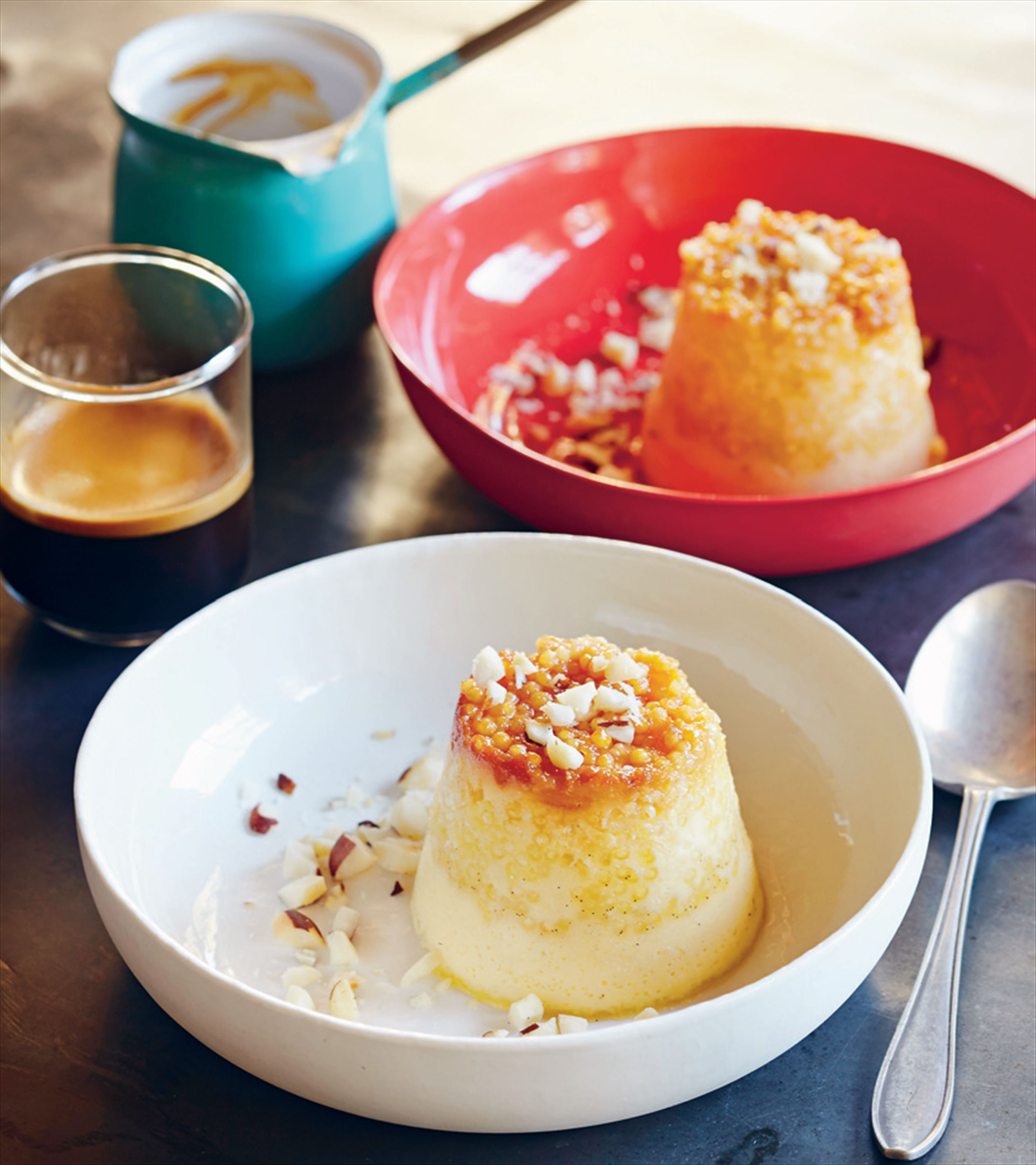 Coconut and sago puddings