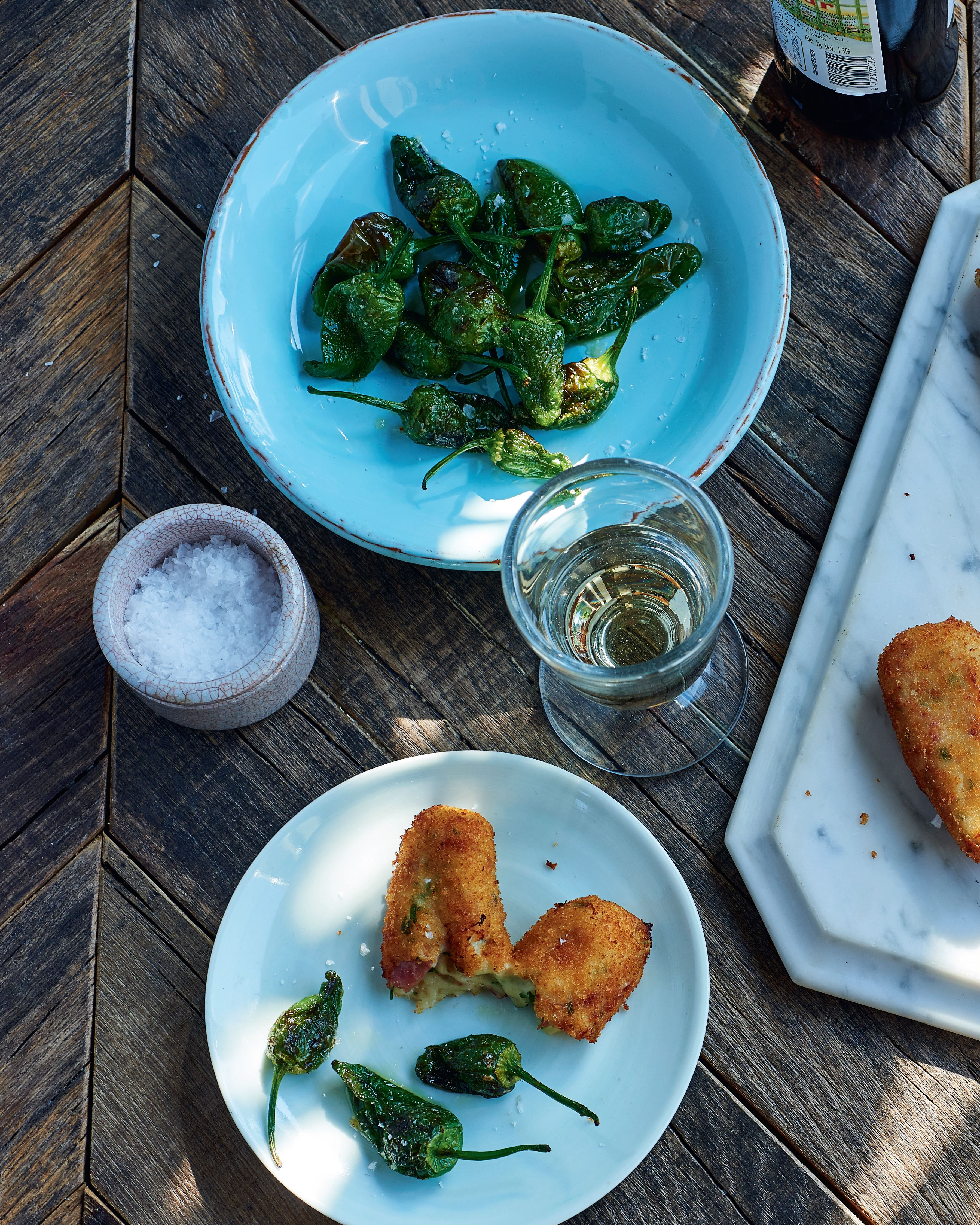 Chicken and Serrano ham croquetas with Padrón peppers