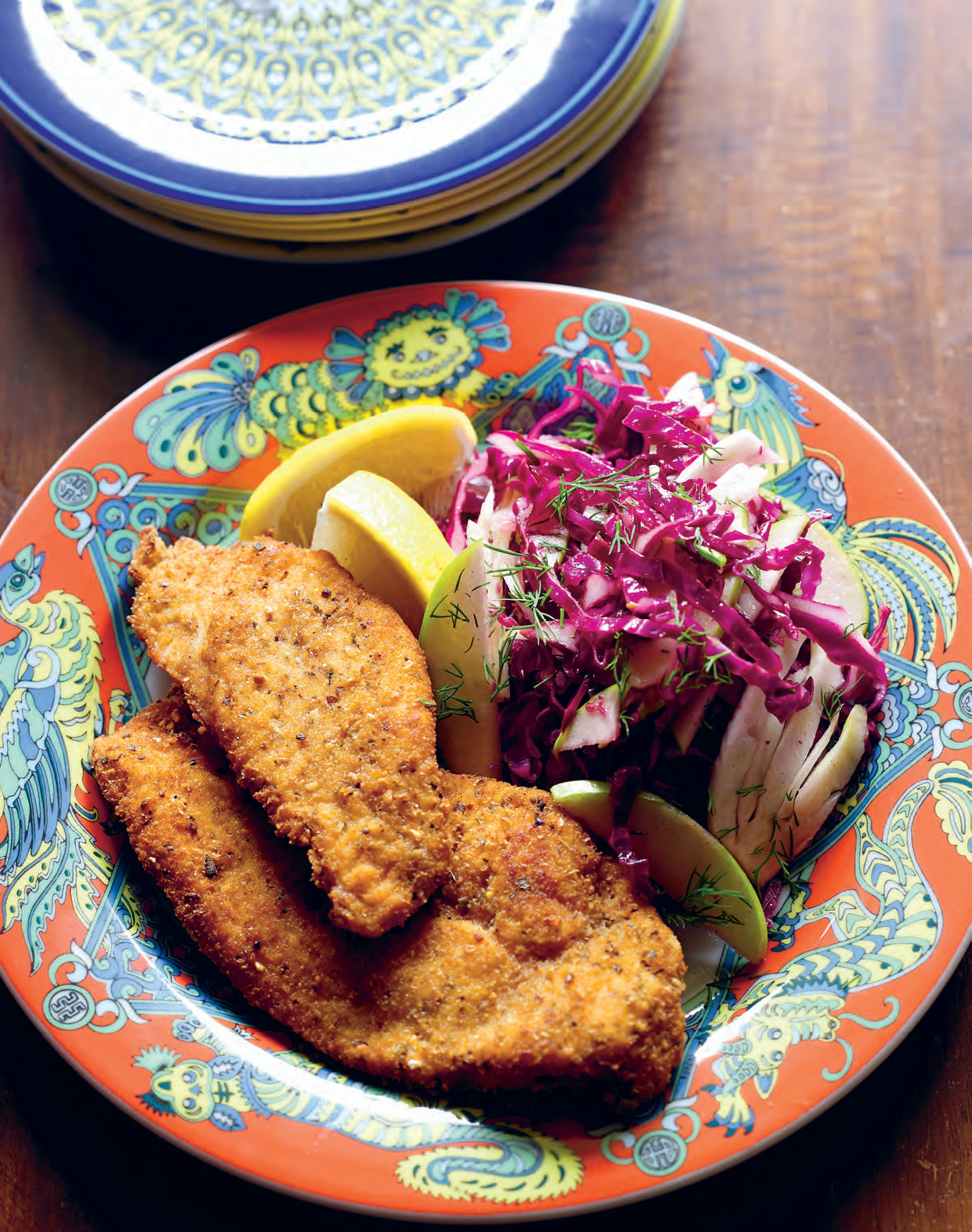 Daddy's herb-crusted chicken schnitzels