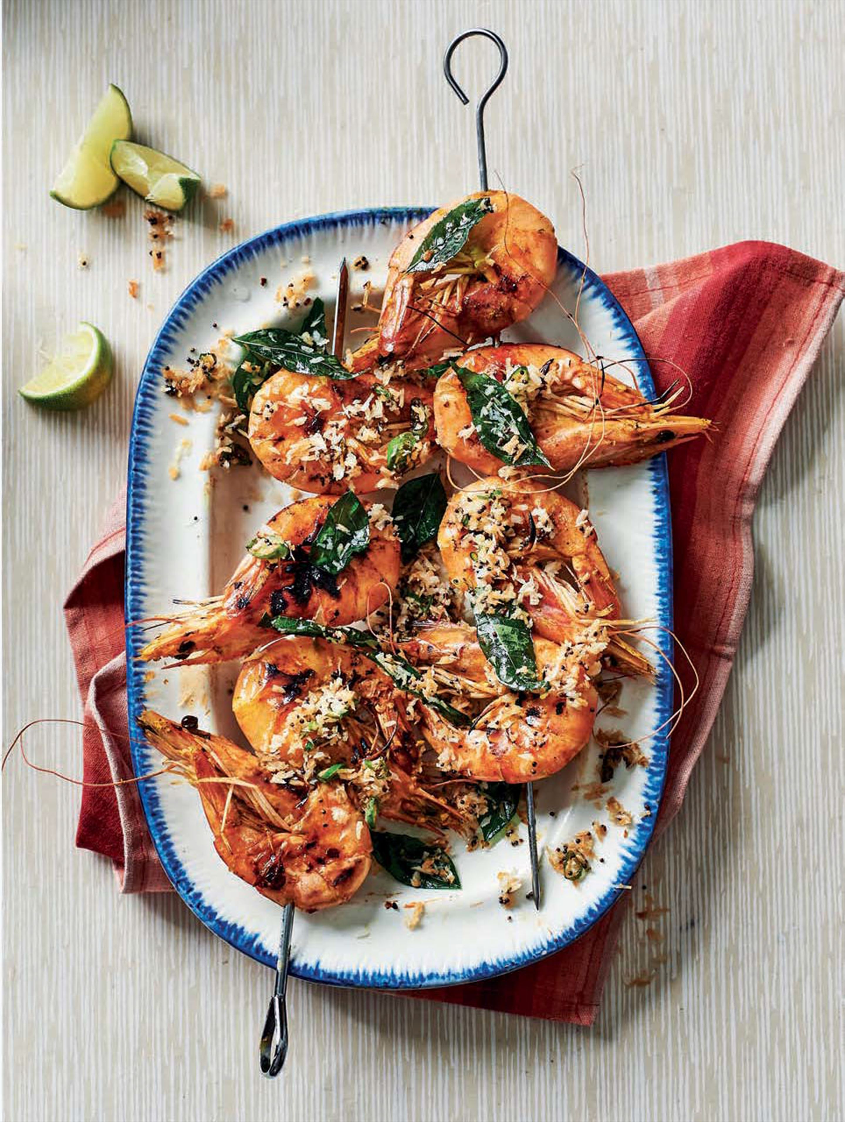 Toasted coconut marinated king prawns