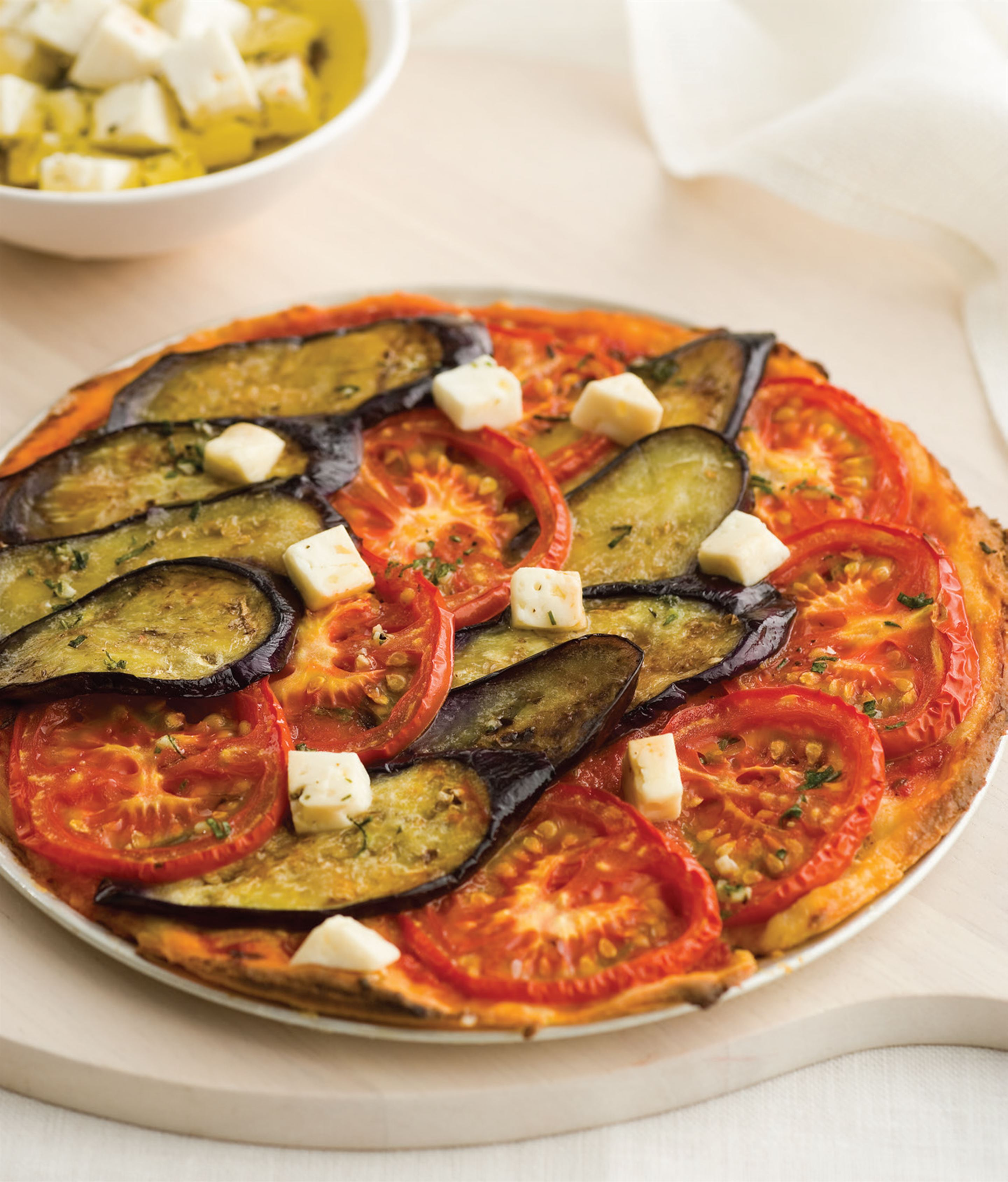 Eggplant, tomato and fetta pizza