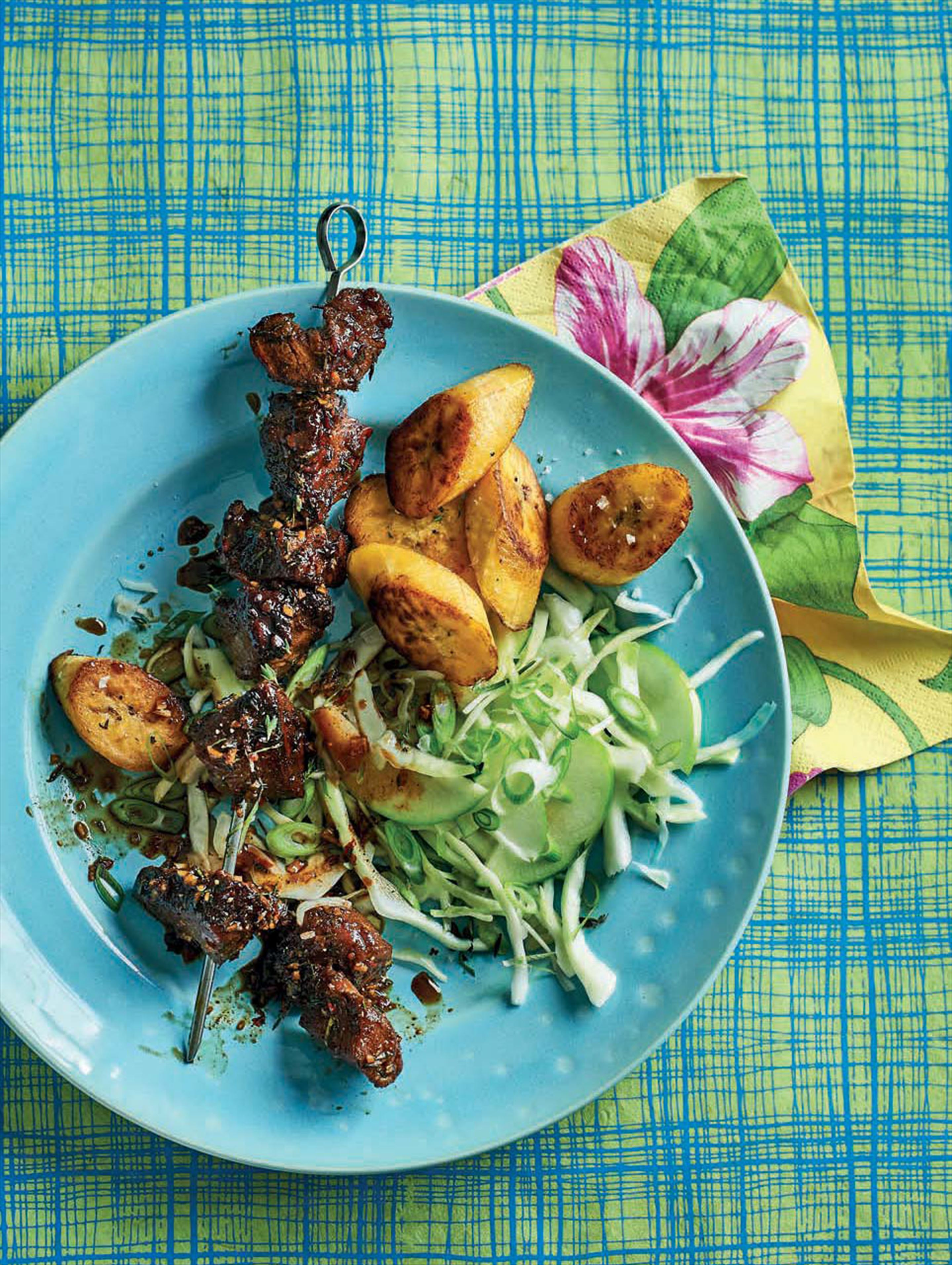 Jerk pork with apple slaw
