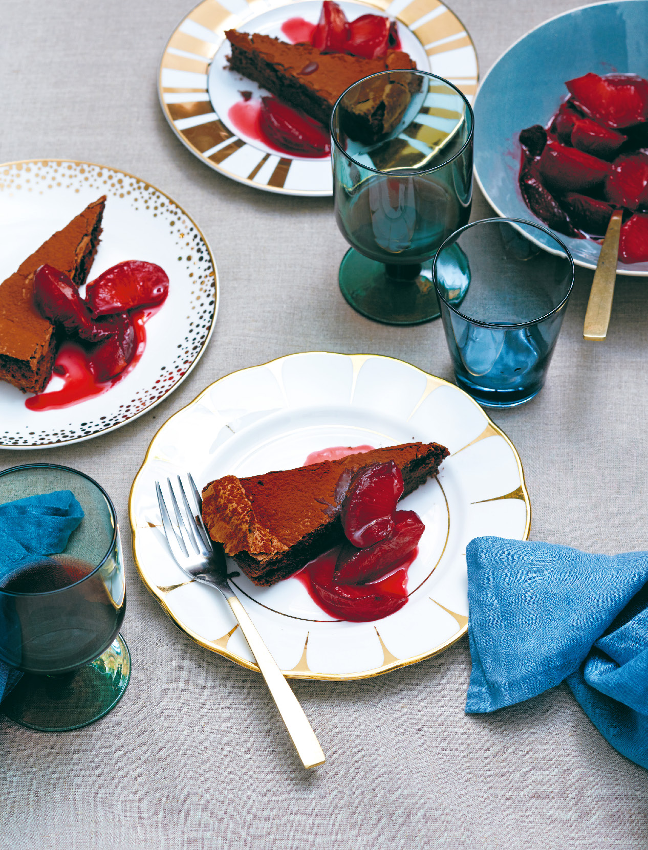 Flourless chocolate torte with blood plum compote