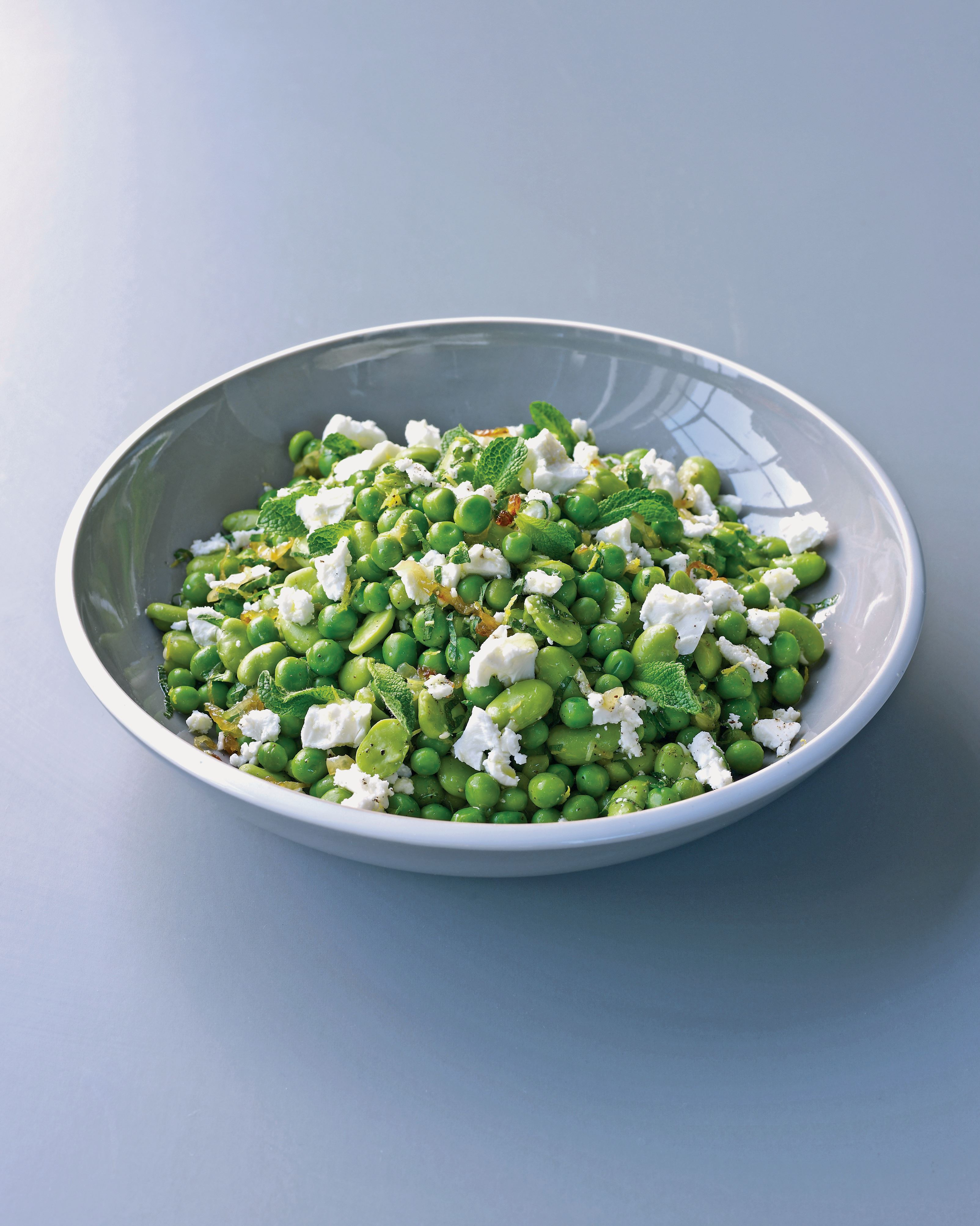 Broad bean, pea, feta and mint salad