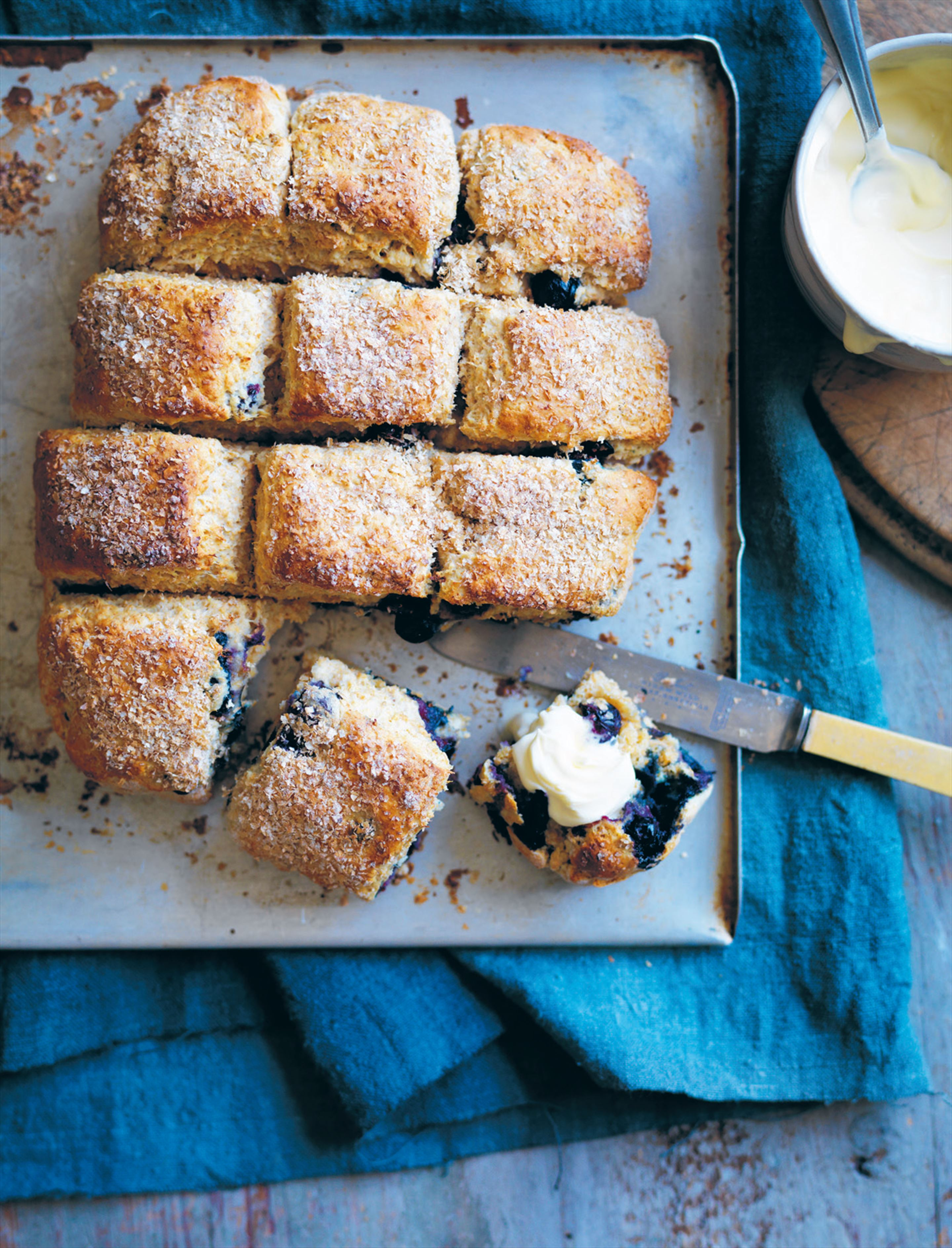 Wholemeal blueberry scones
