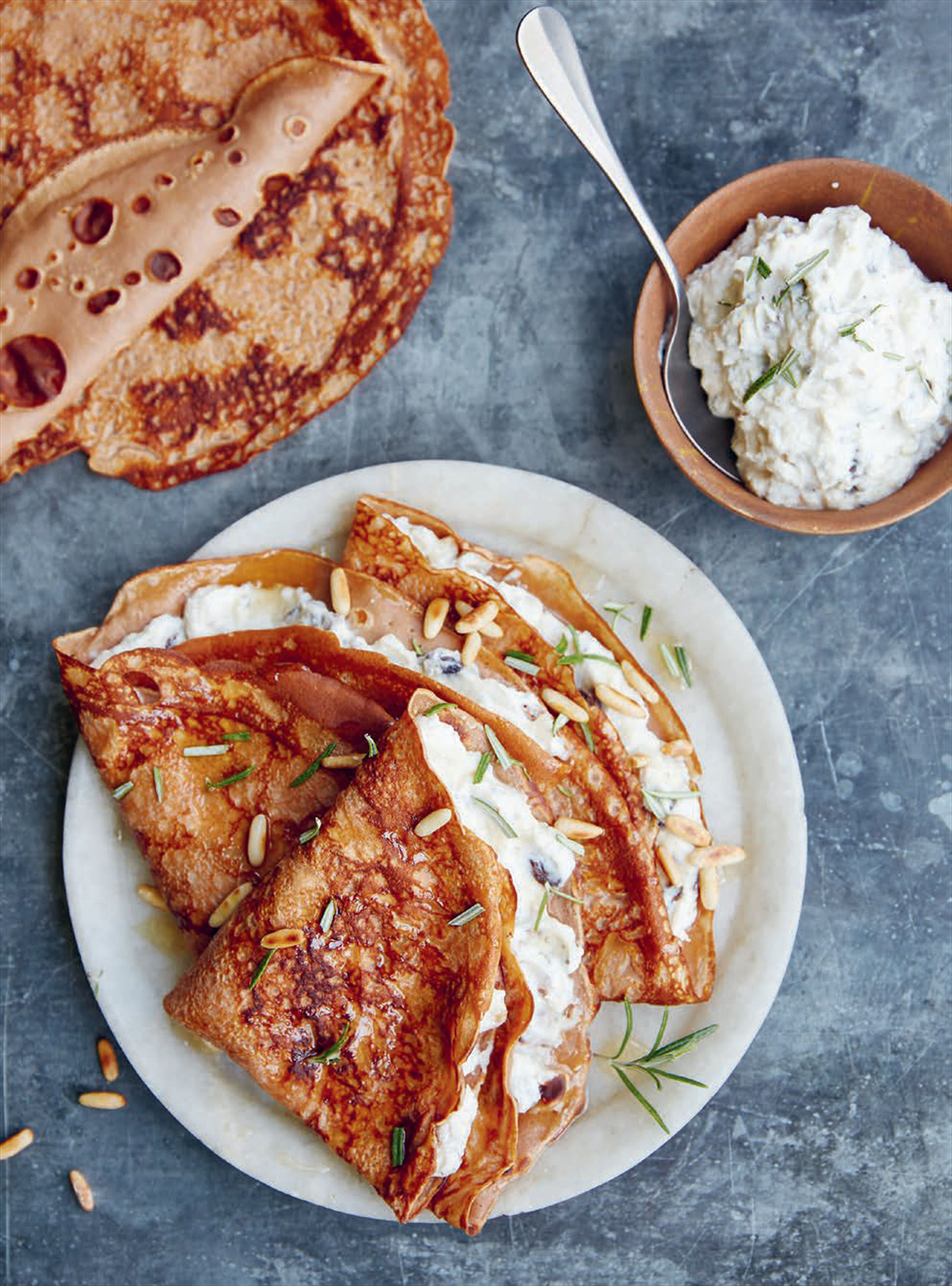 Chestnut pancakes filled with ricotta & lemon