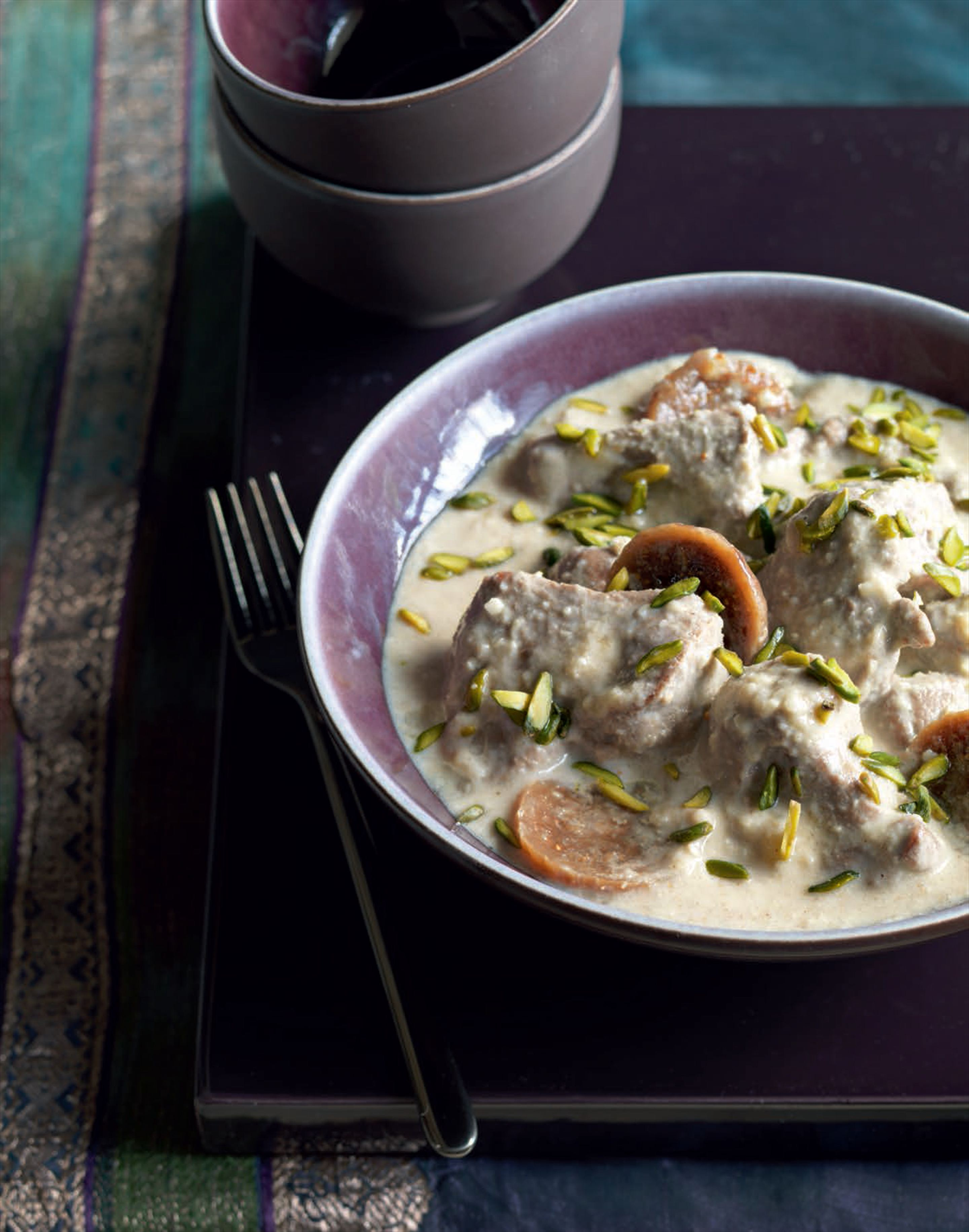 Creamy, nutty lamb curry with dried figs