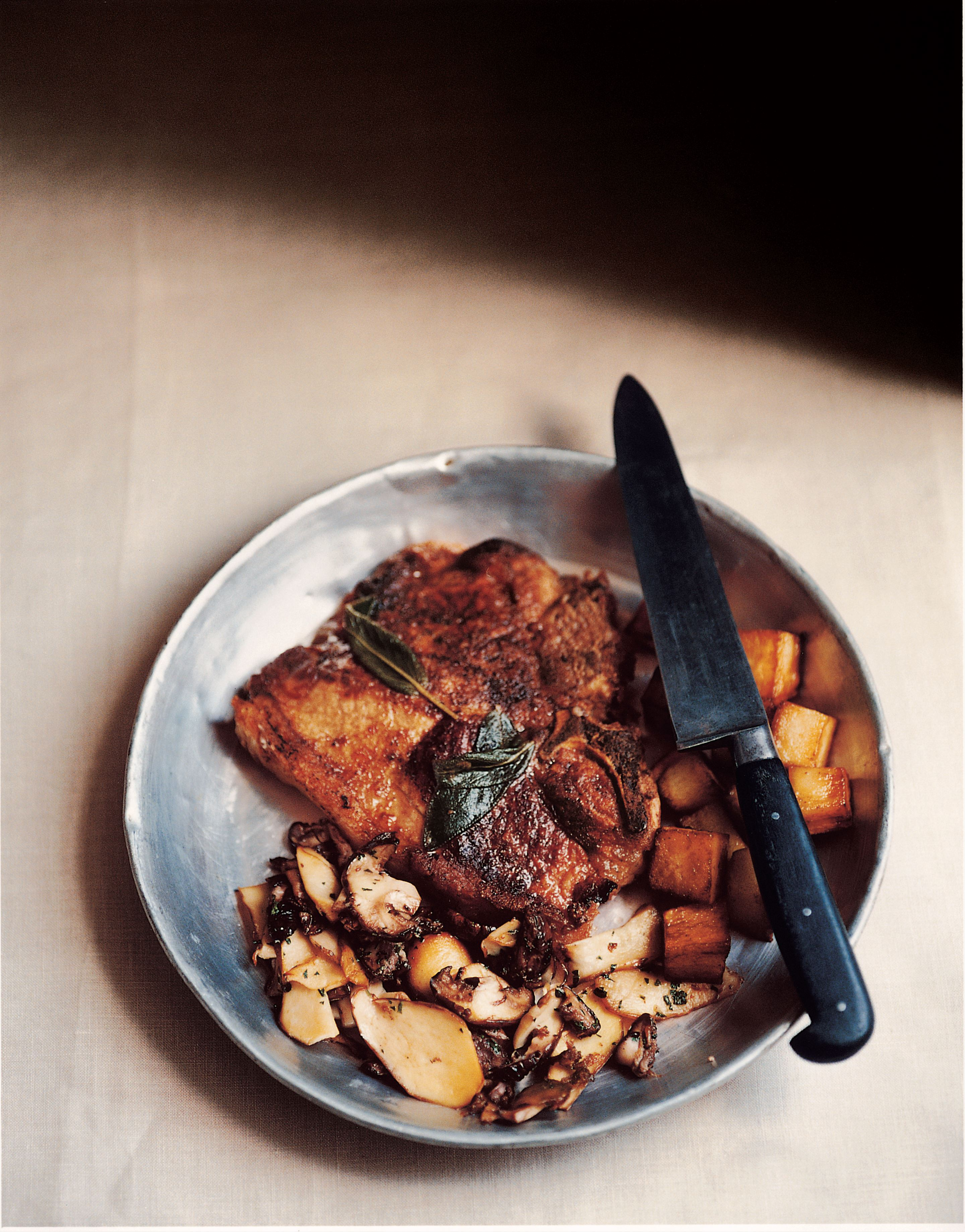 Veal cutlets with ceps
