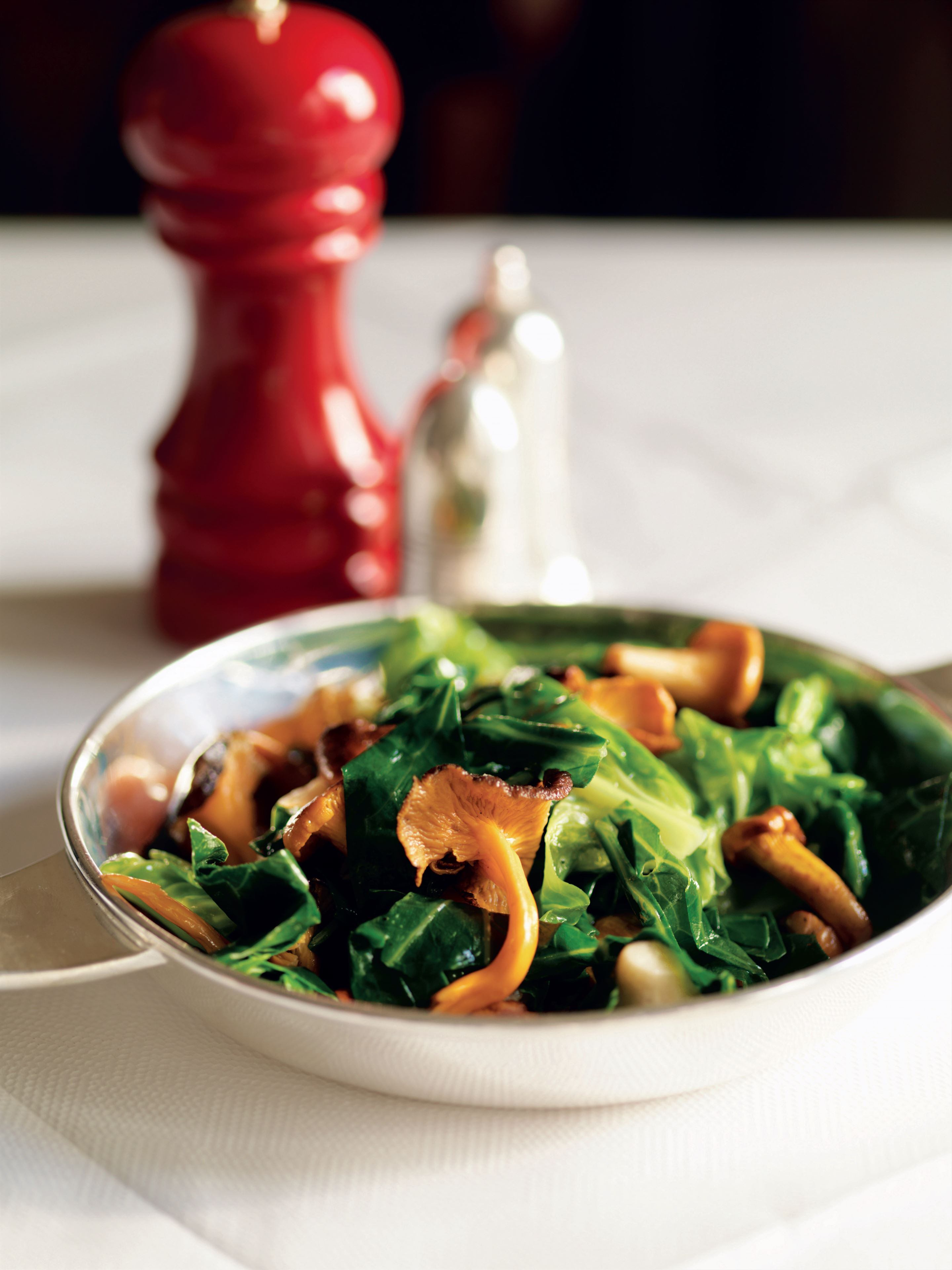 Autumn greens with wild mushrooms