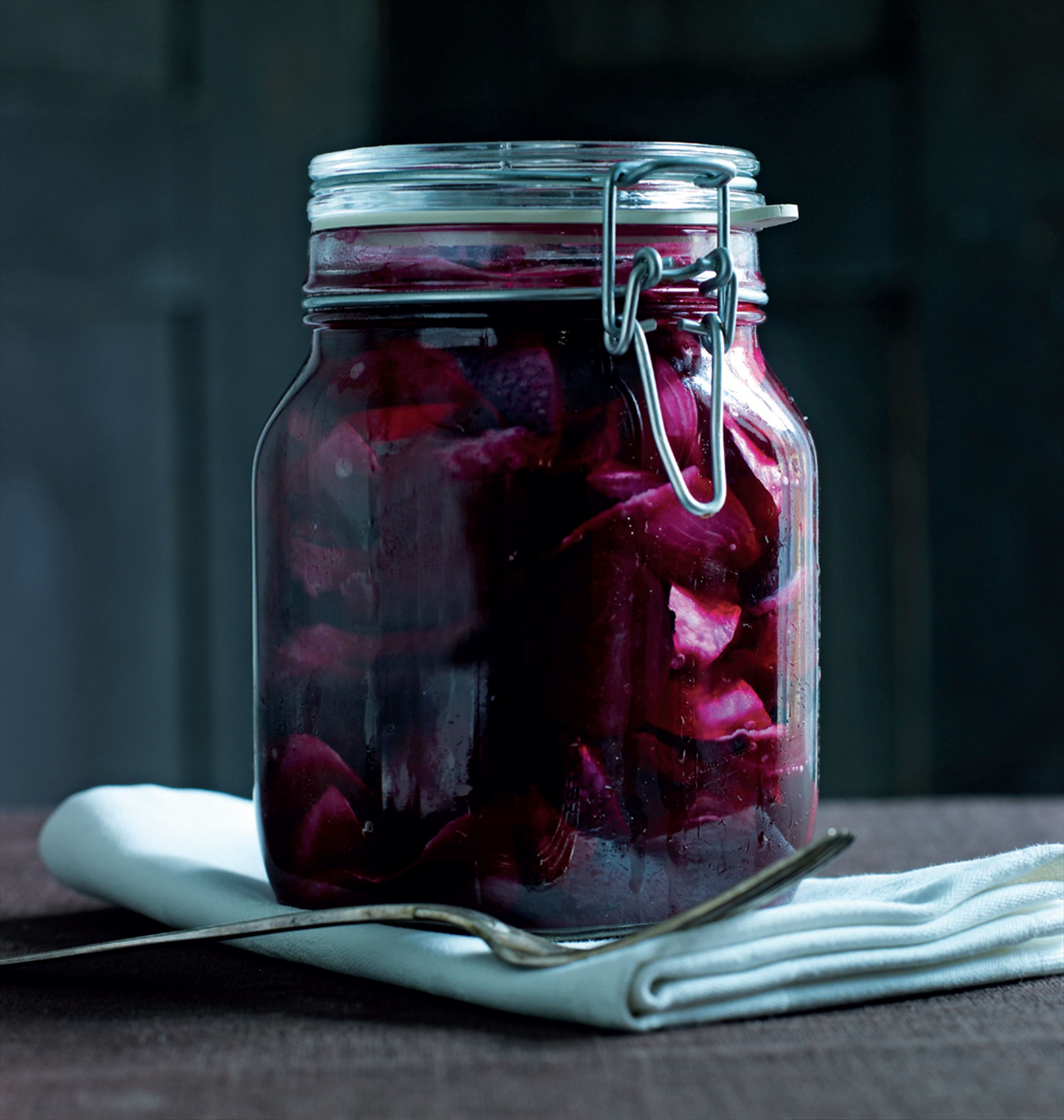 Beetroot pickled herrings