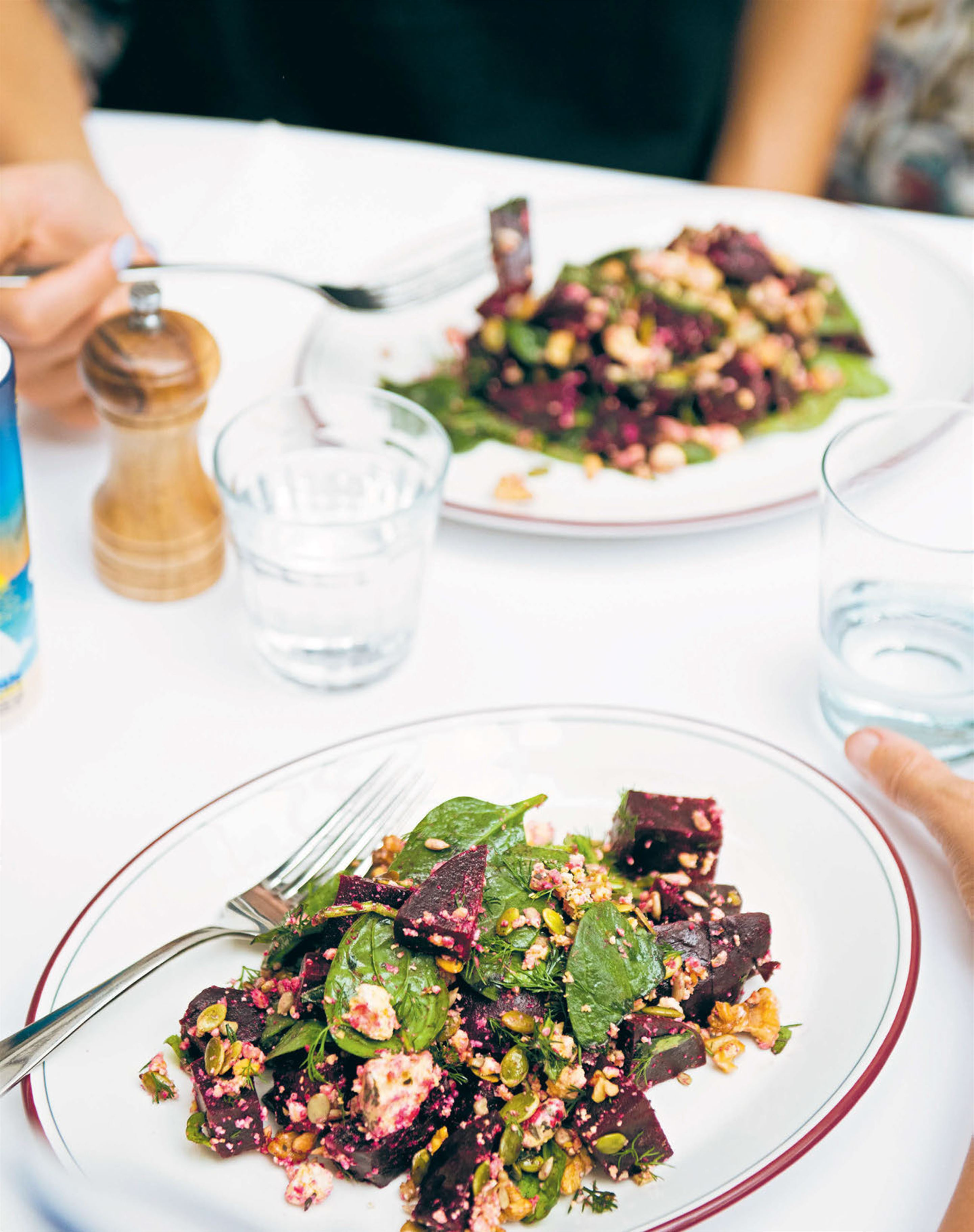 Pickled beetroot salad with walnuts, hazelnuts & shanklish
