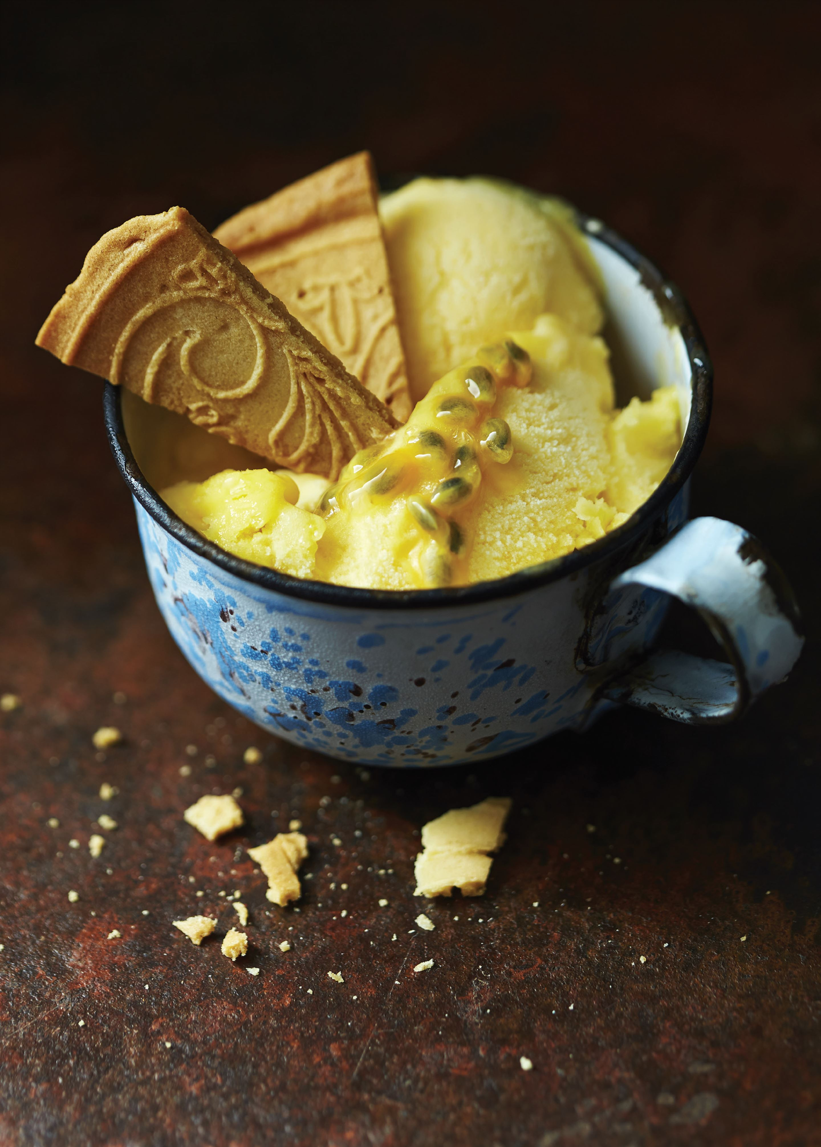 Mango and passionfruit sorbet
