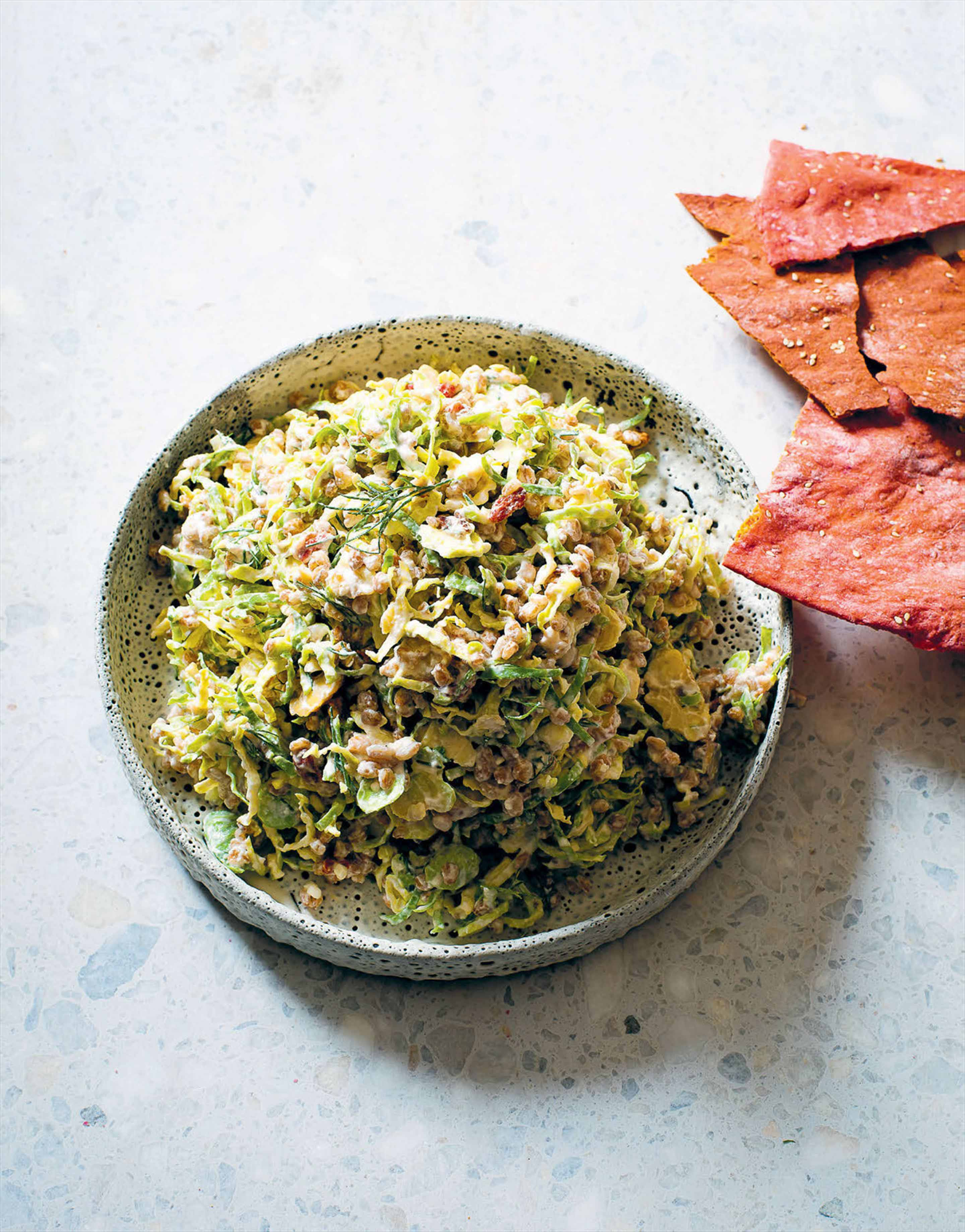 Farro, chestnut & brussels sprout slaw