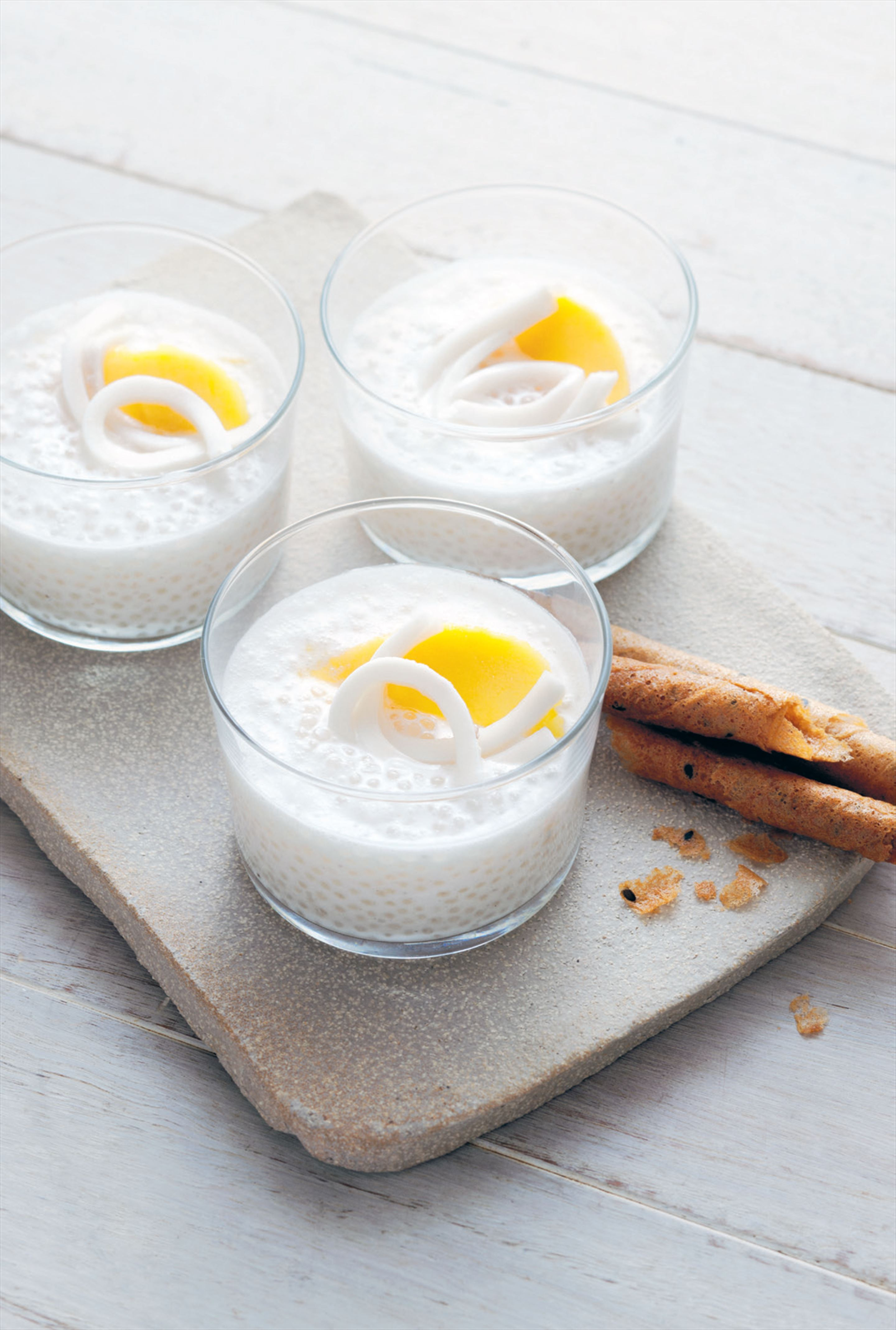 Tapioca pudding with coconut cream and vanilla
