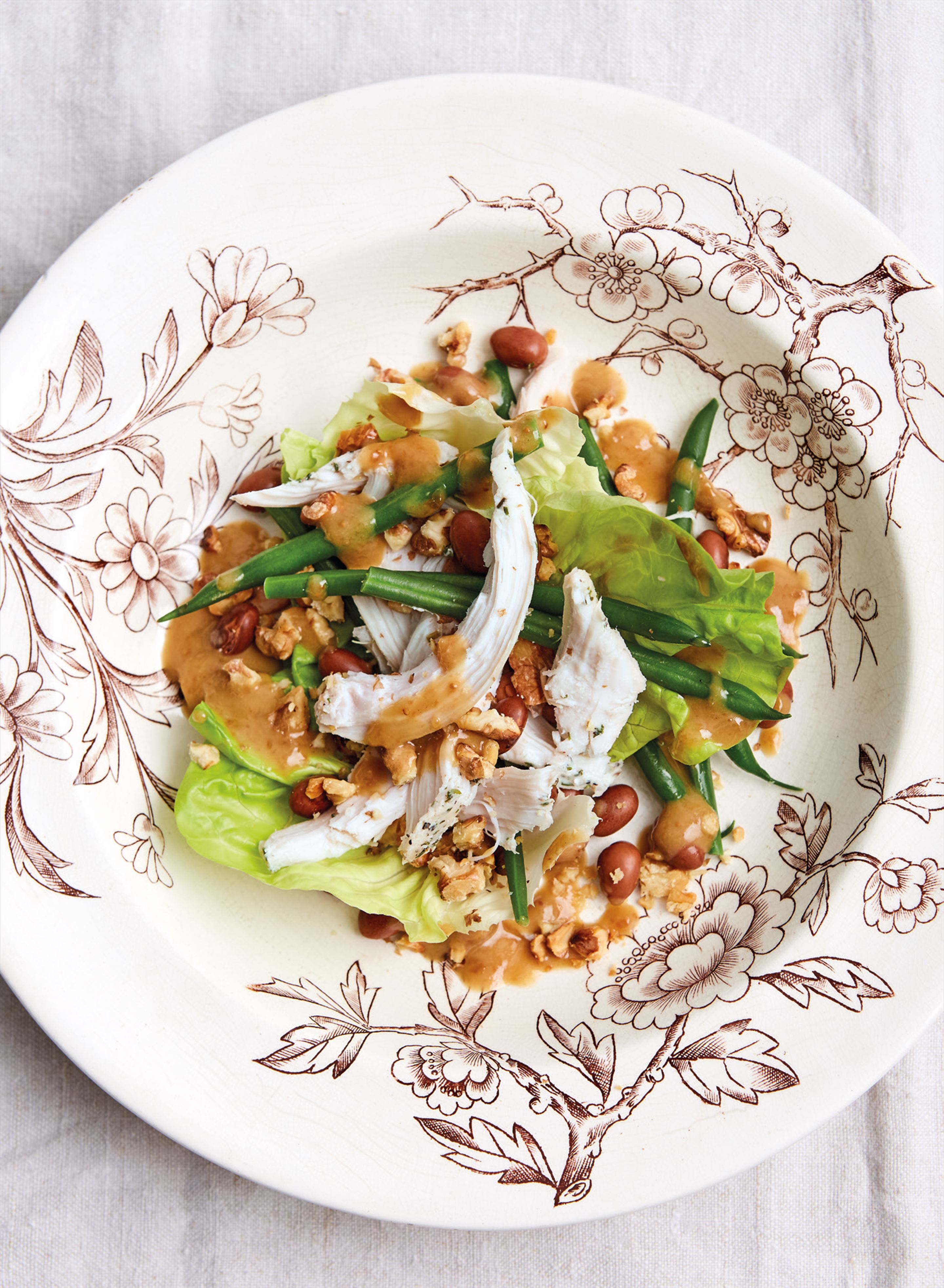 Smoked chicken, green bean and borlotti bean salad with fig dressing