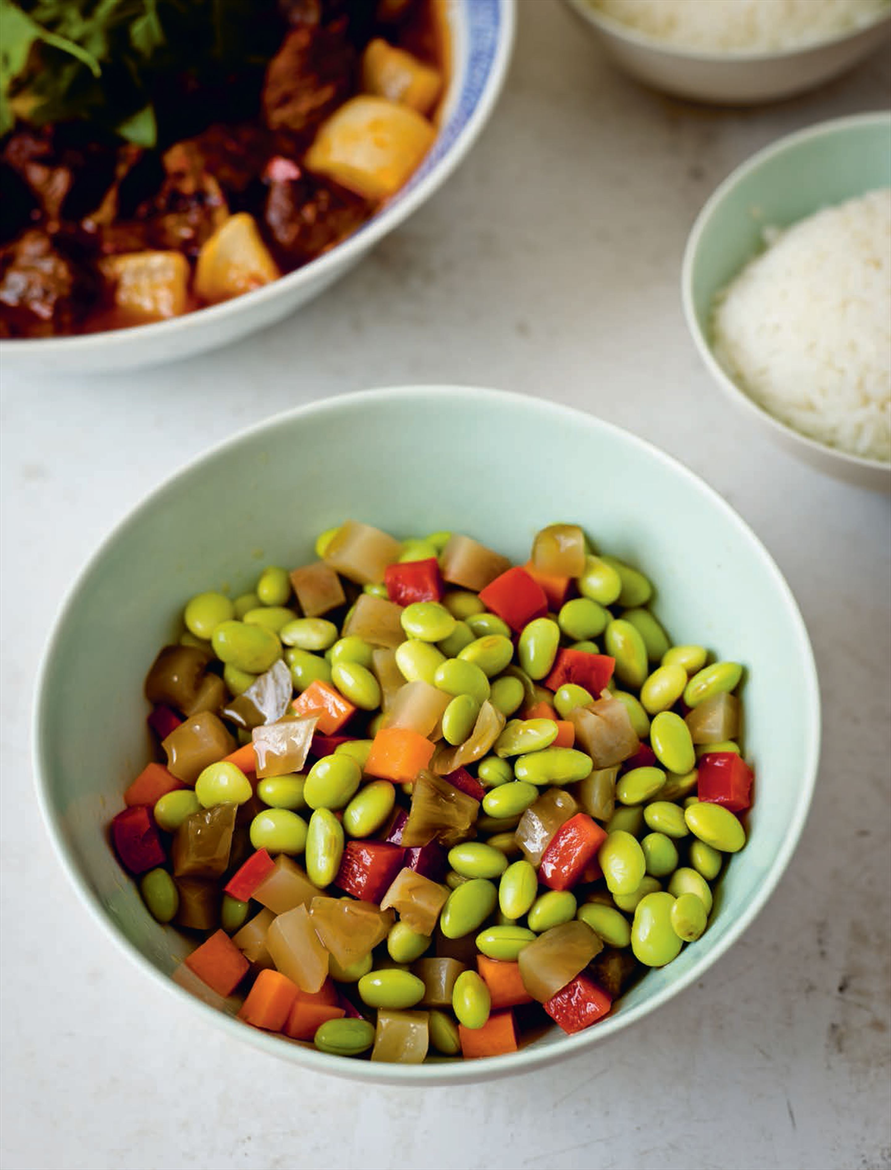 Sichuanese green soy bean salad