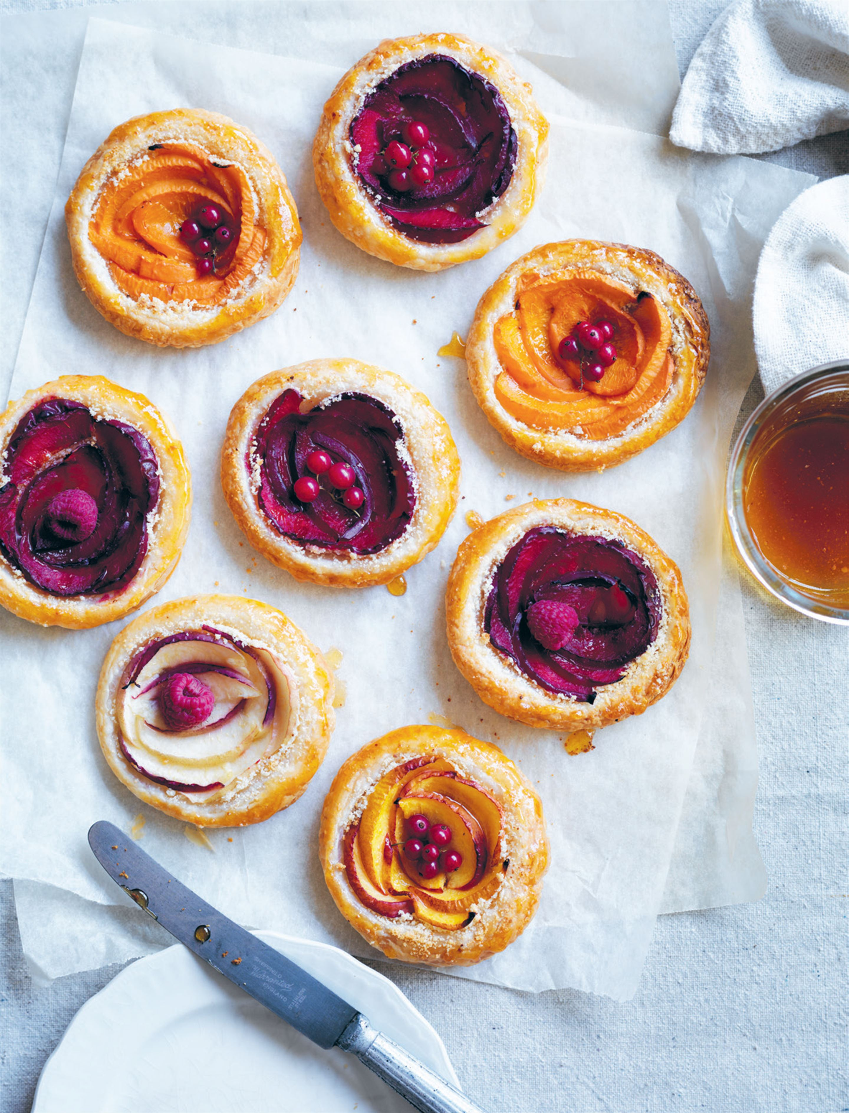 Stone fruit almond tarts