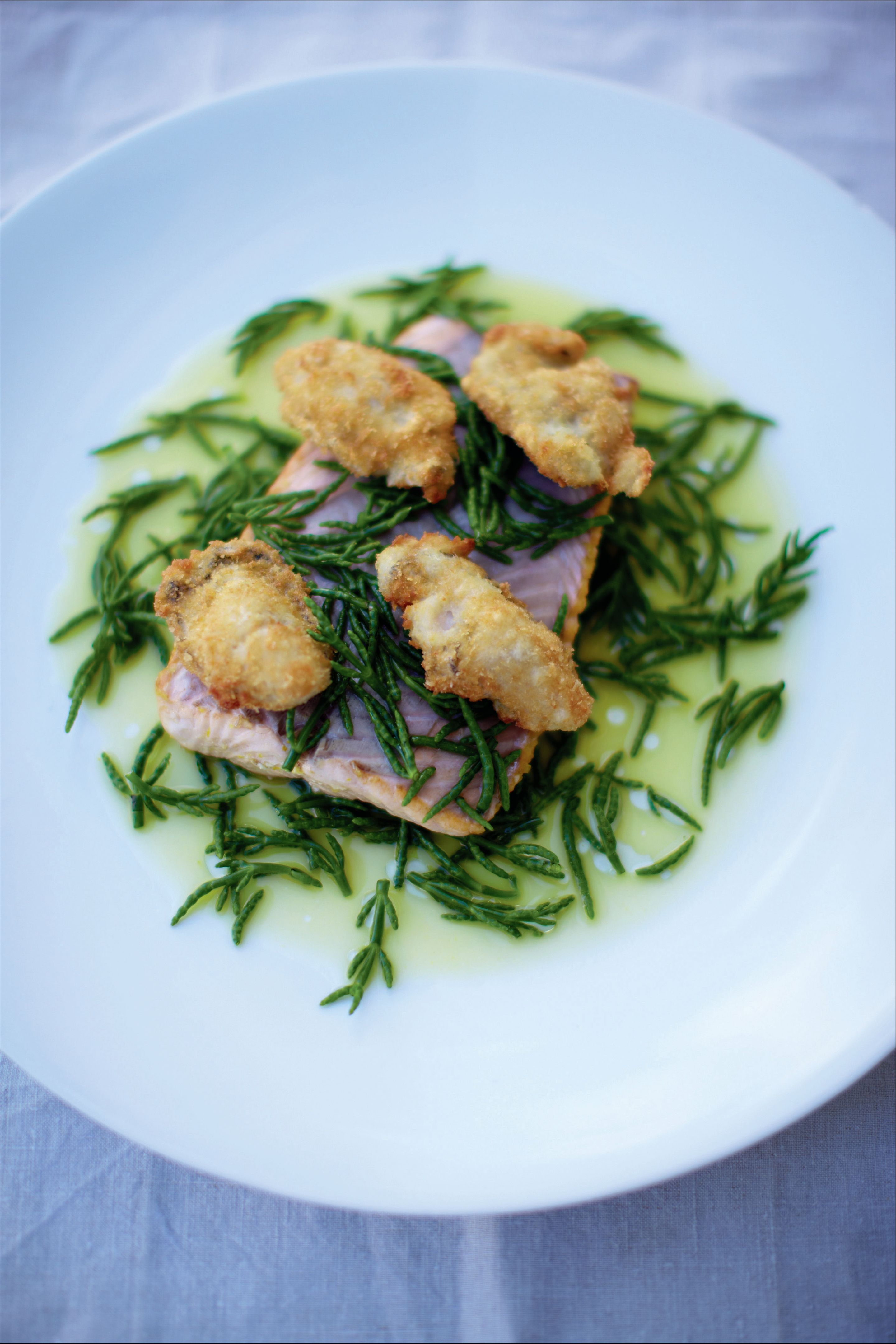 Citrus marinated sea trout with samphire and crispy oysters