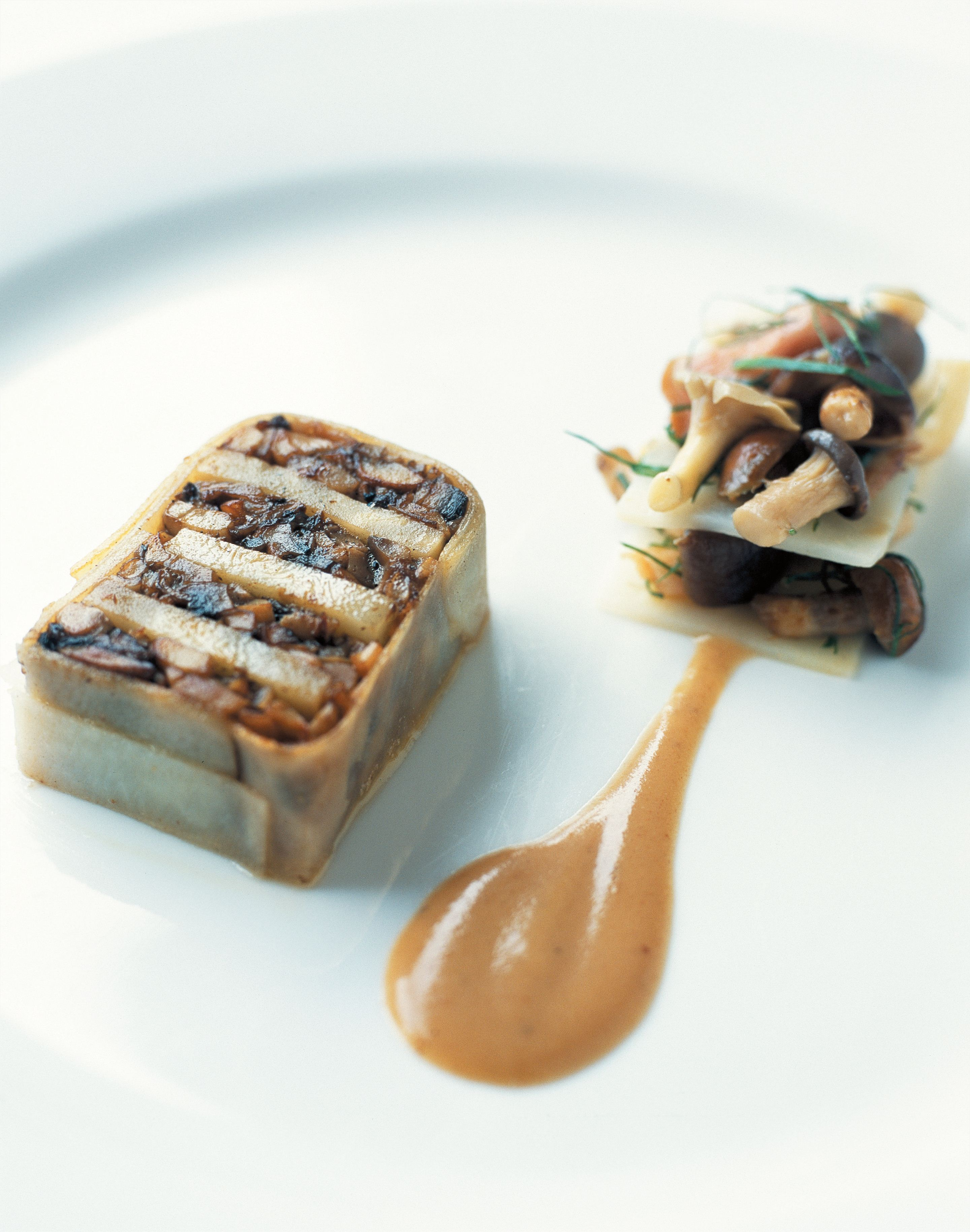 Terrine and mille feuille of mushroom and confit celeriac