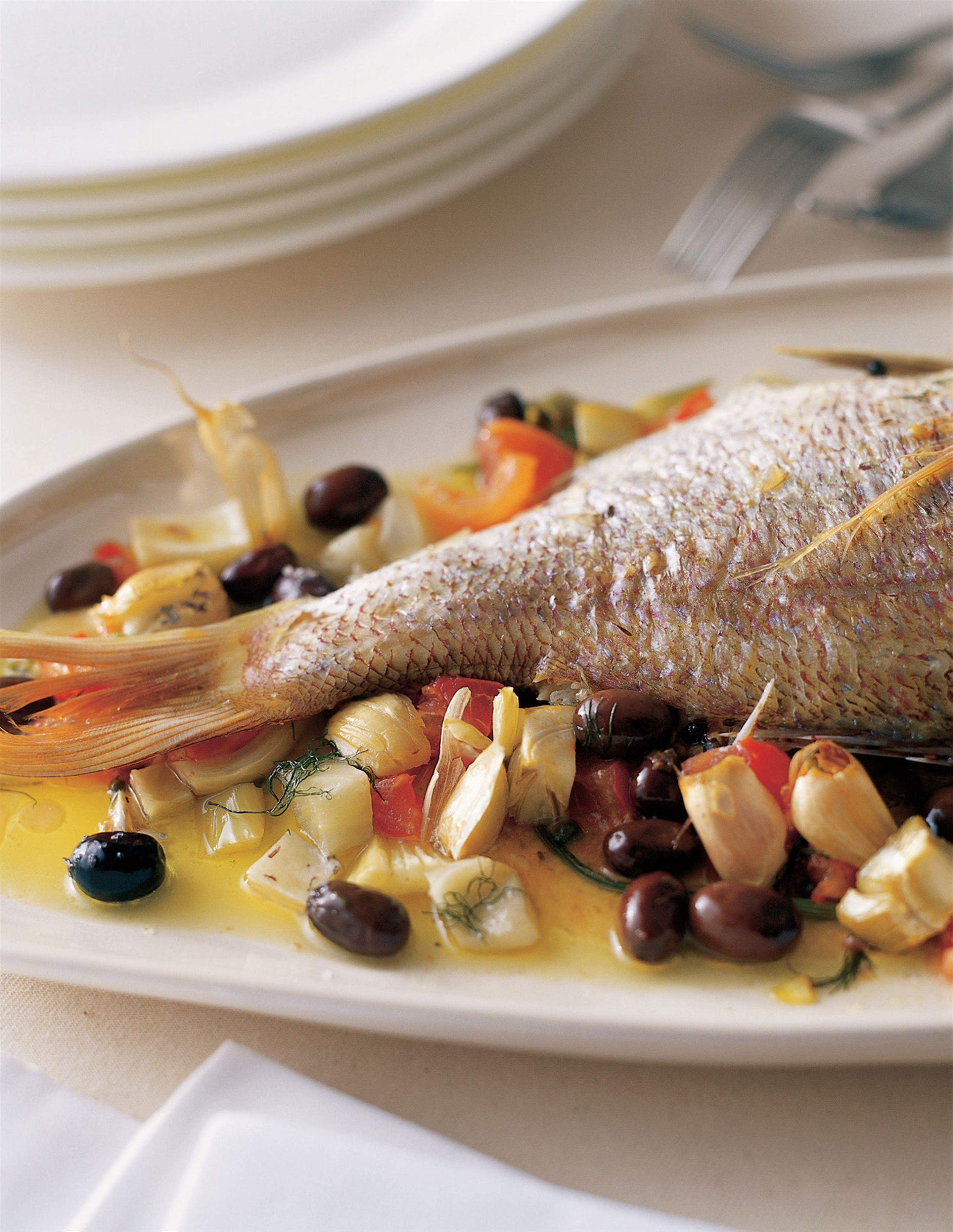 Roasted snapper with olives and fennel