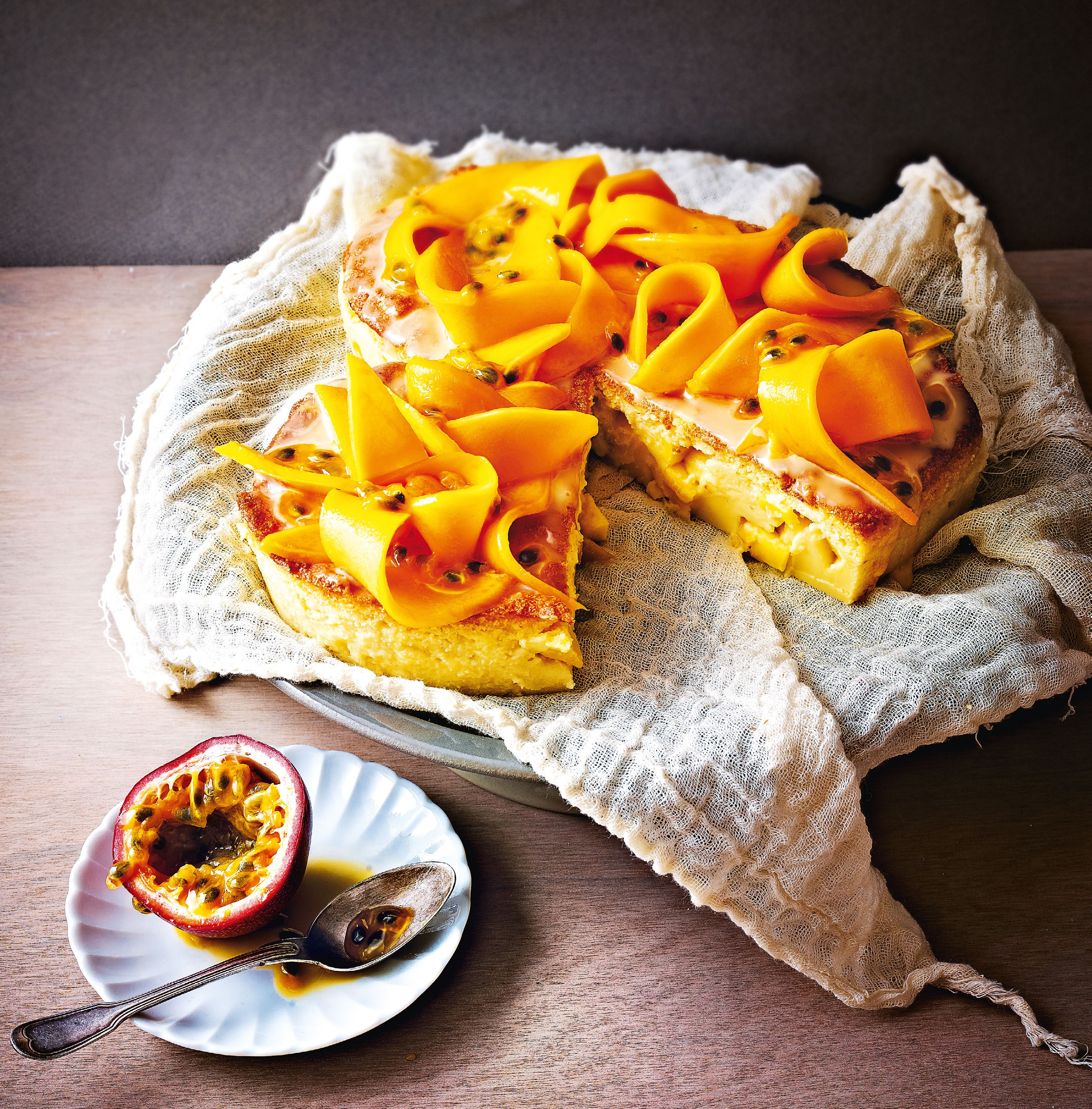Mango and passion fruit heart cake