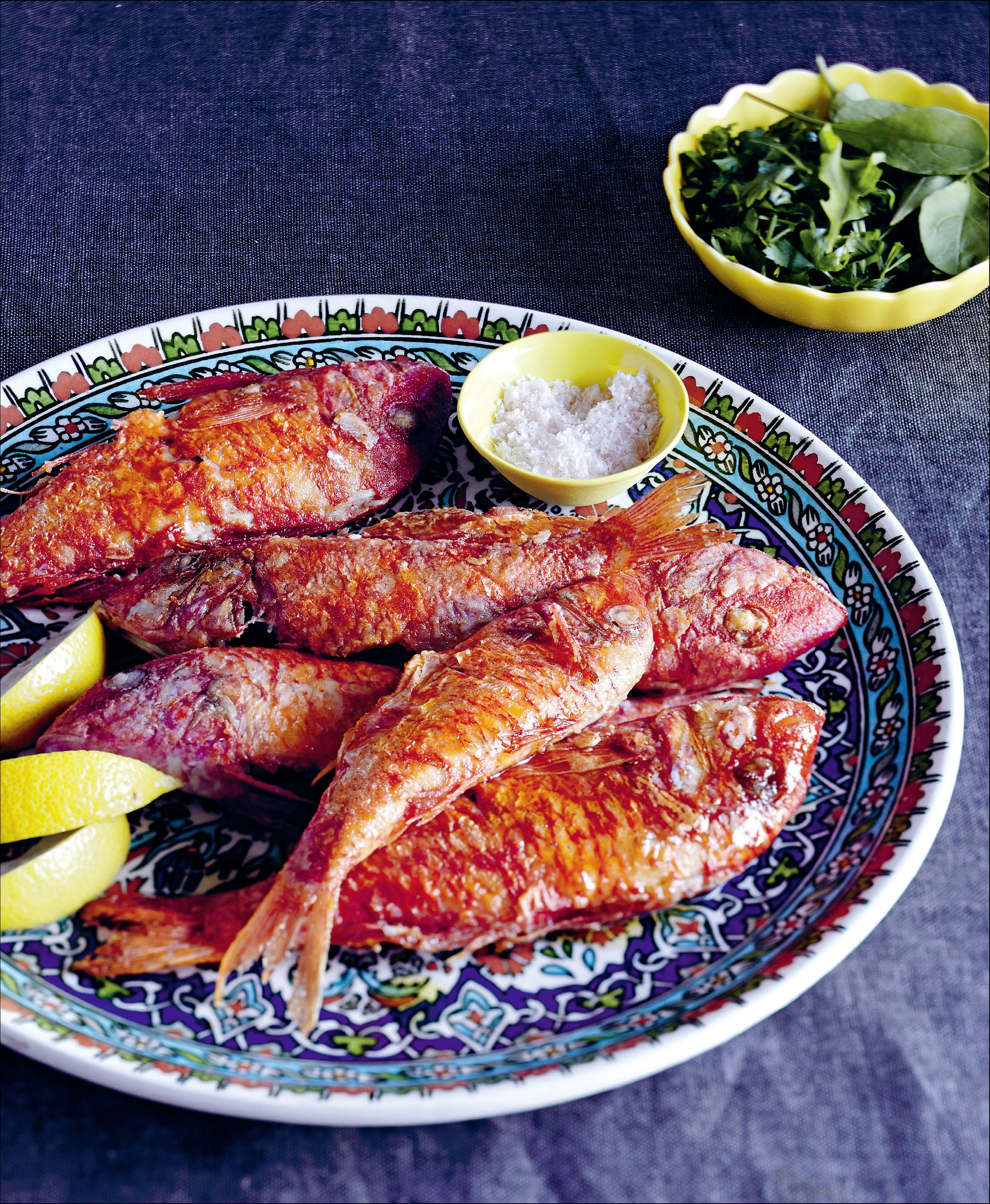 Fried red mullet